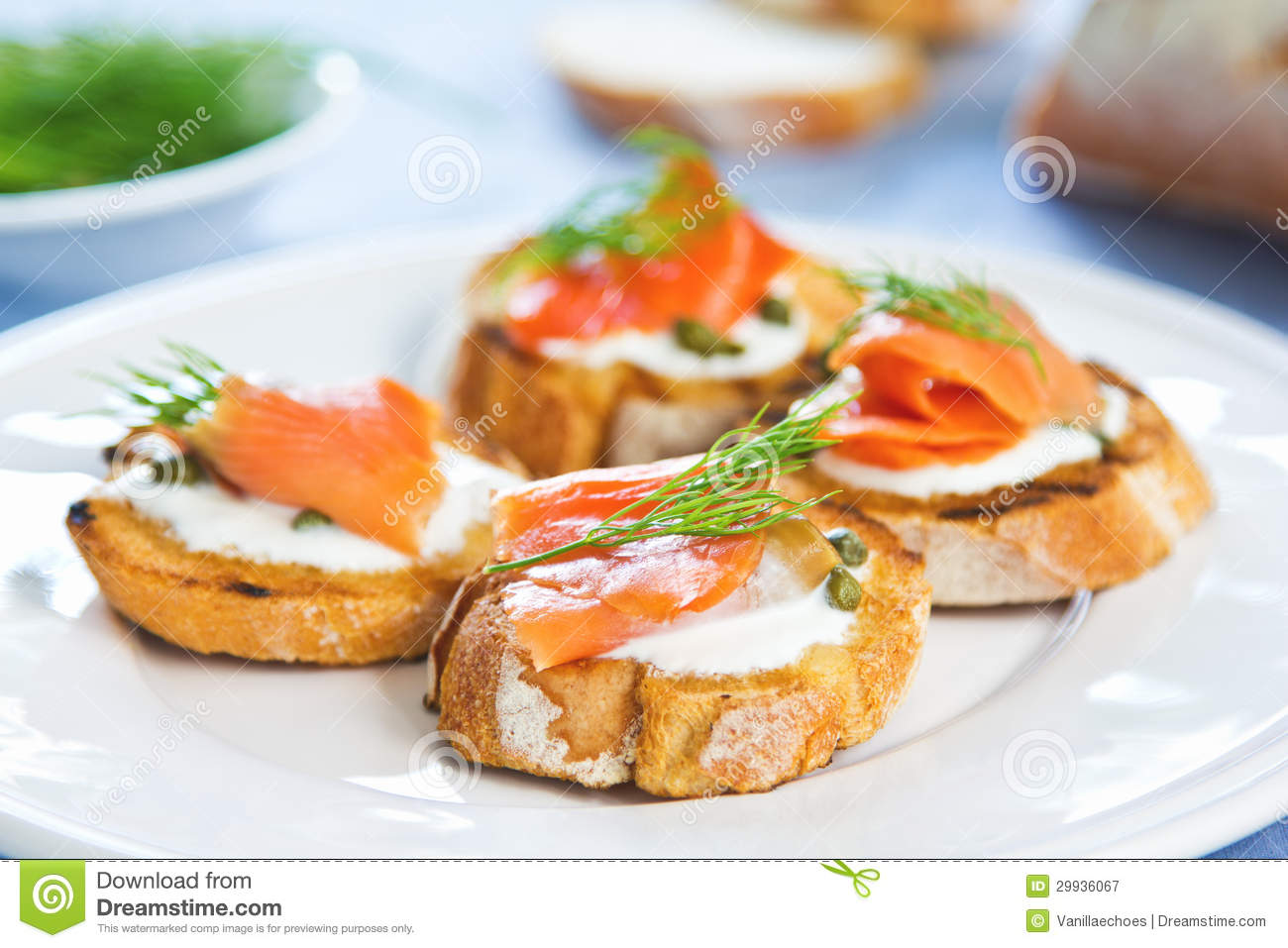 salmon crostini royalty free stock photography image 29936067. Black Bedroom Furniture Sets. Home Design Ideas