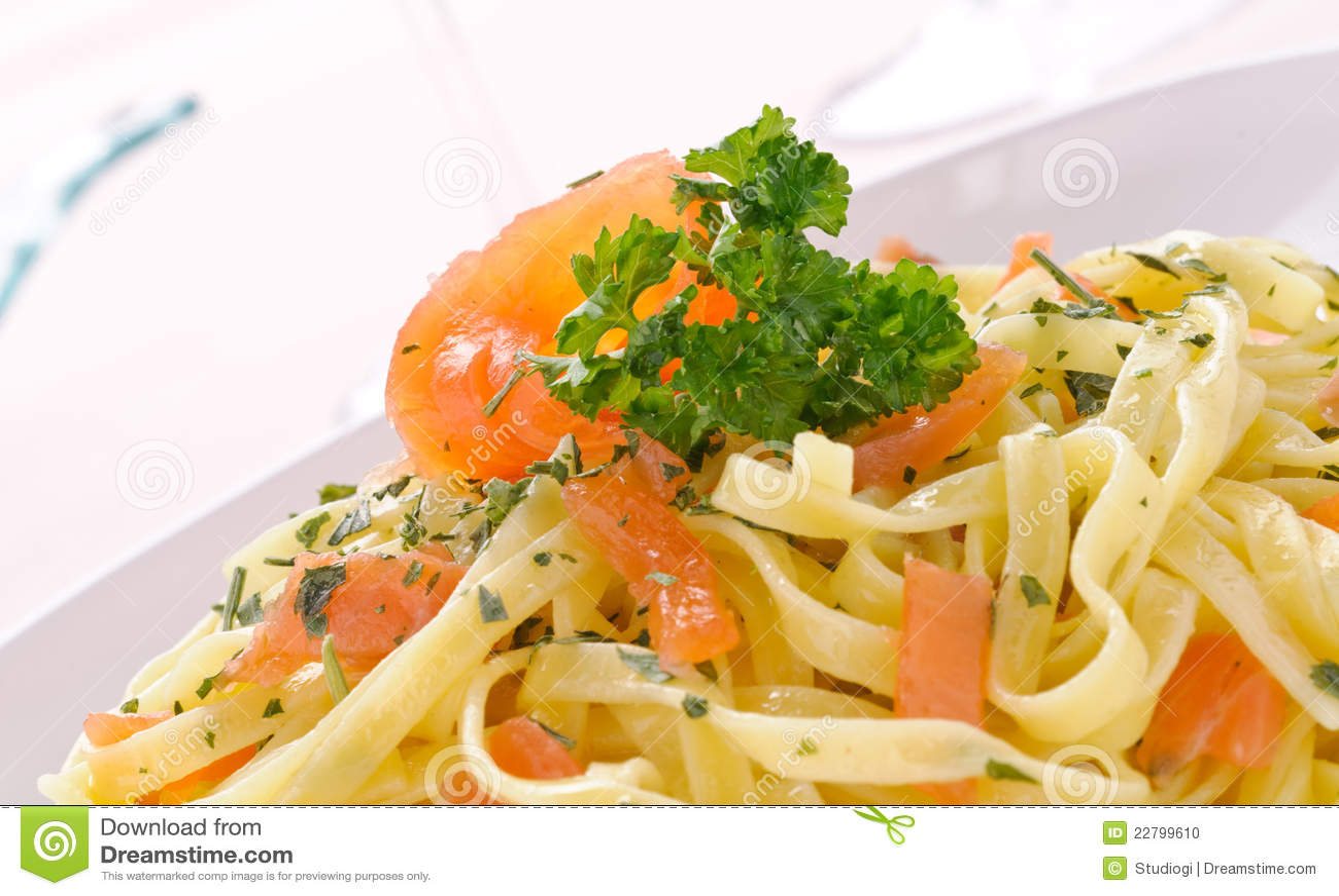 Smoked Salmon Fettuccine, Italian Pasta Stock Photo - Image: 22799610