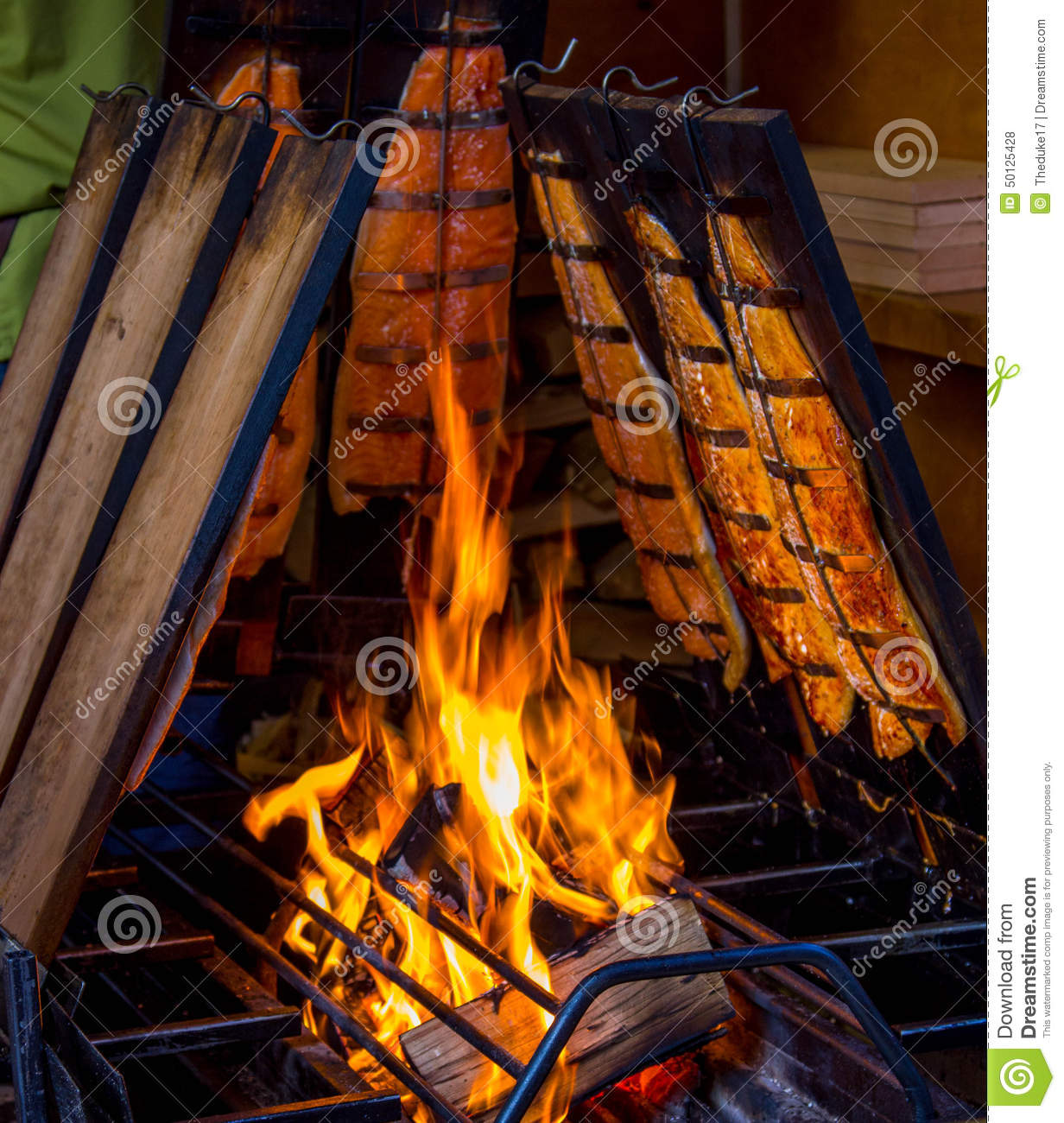 Smoked salmon stock photo image of gourmet grilling for Fish on fire