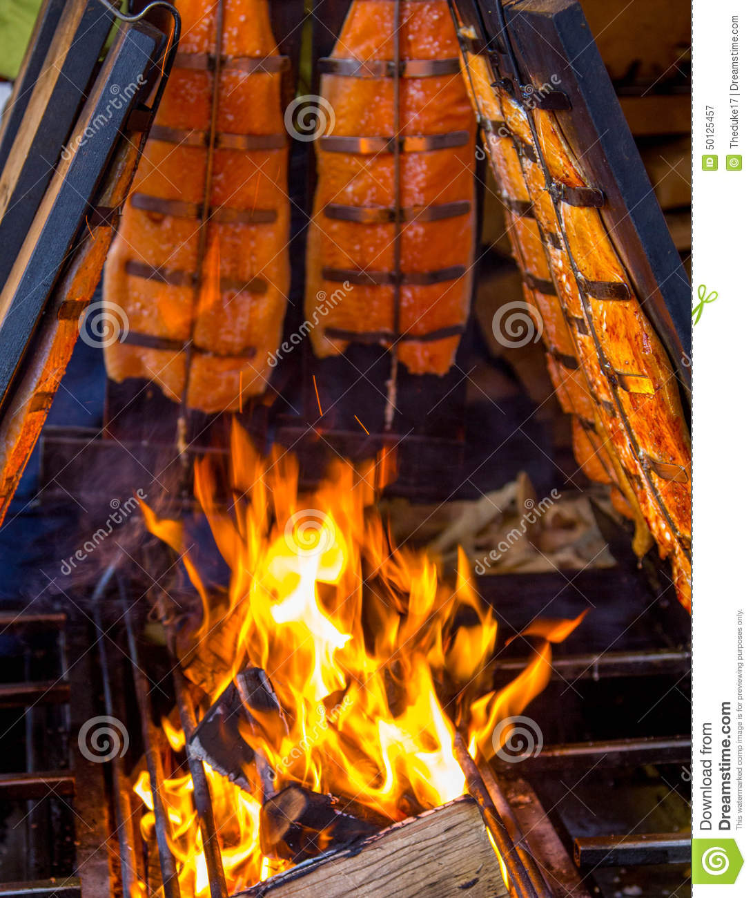 Smoked salmon stock image image of barbequing fresh for Fish on fire