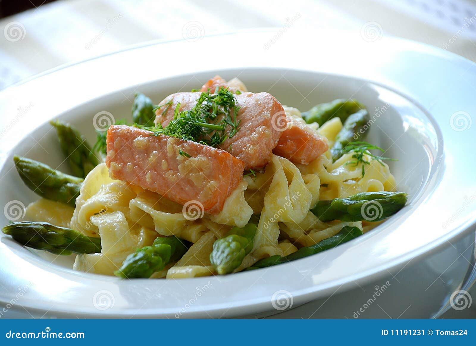 More similar stock images of ` Smoked salmon pasta `