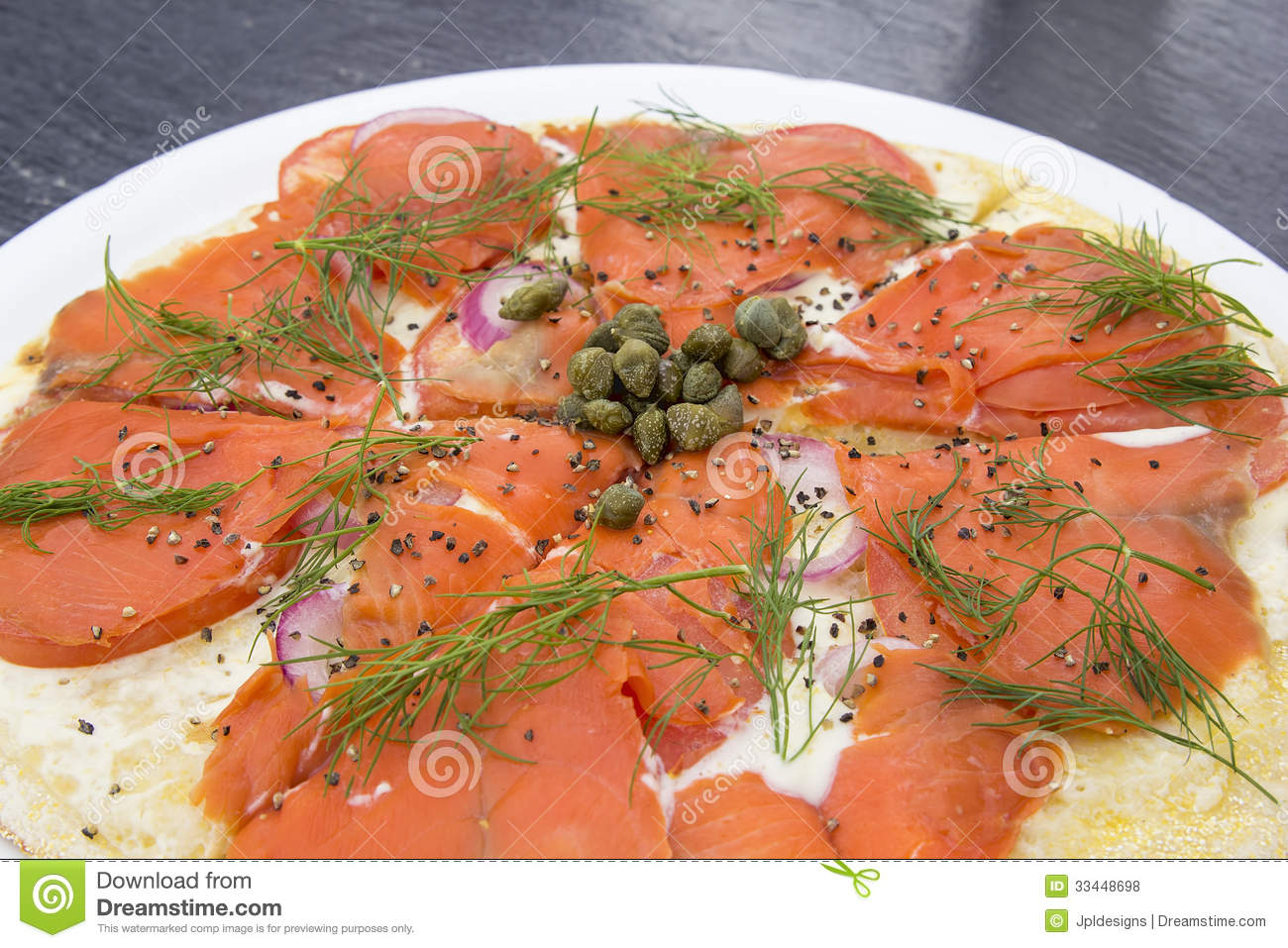 Capers Cheese Closeup Cracked Cream Dill Peppers Pizza Salmon