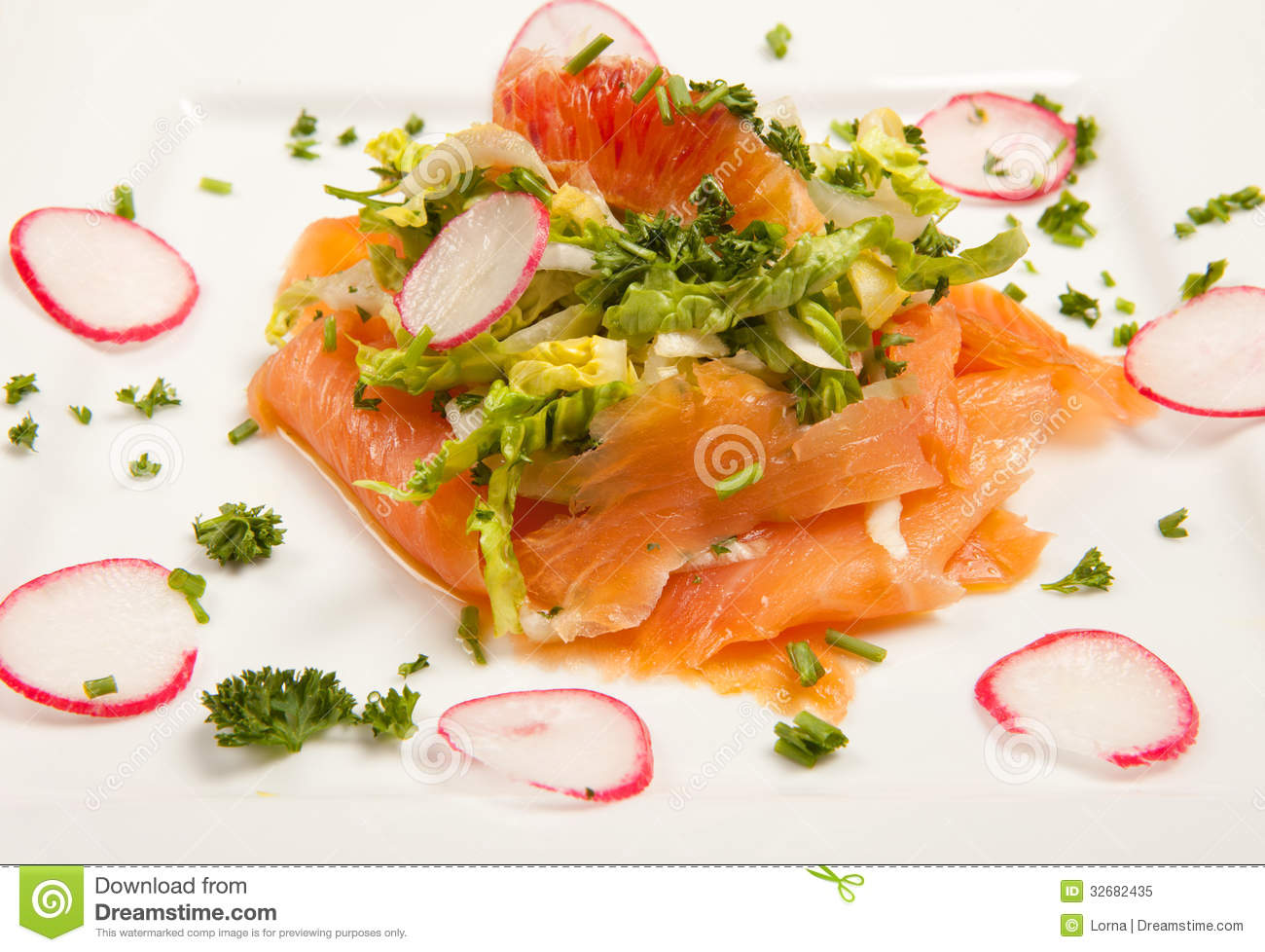 ... smoked salmon salad with blood orange and radish. seafood appetizer