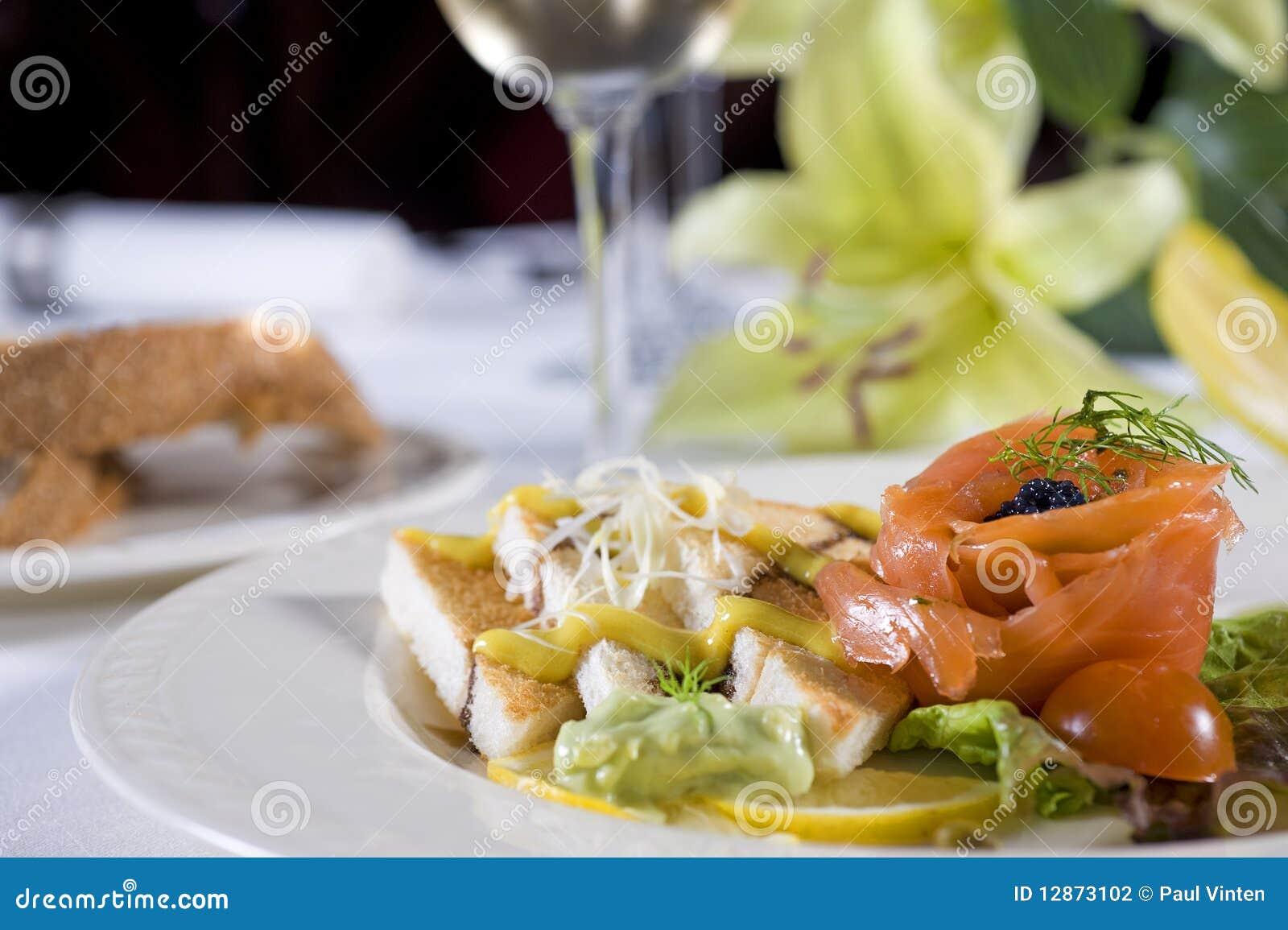 Smoked salmon on toast a la carte appetizer