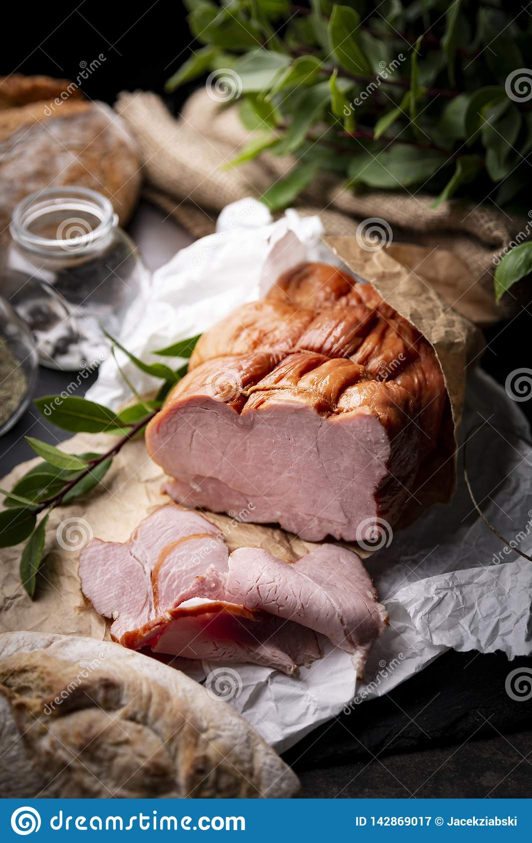 Smoked sirloin. Appetizing traditional pork ham. Traditional, homely smoked meat.