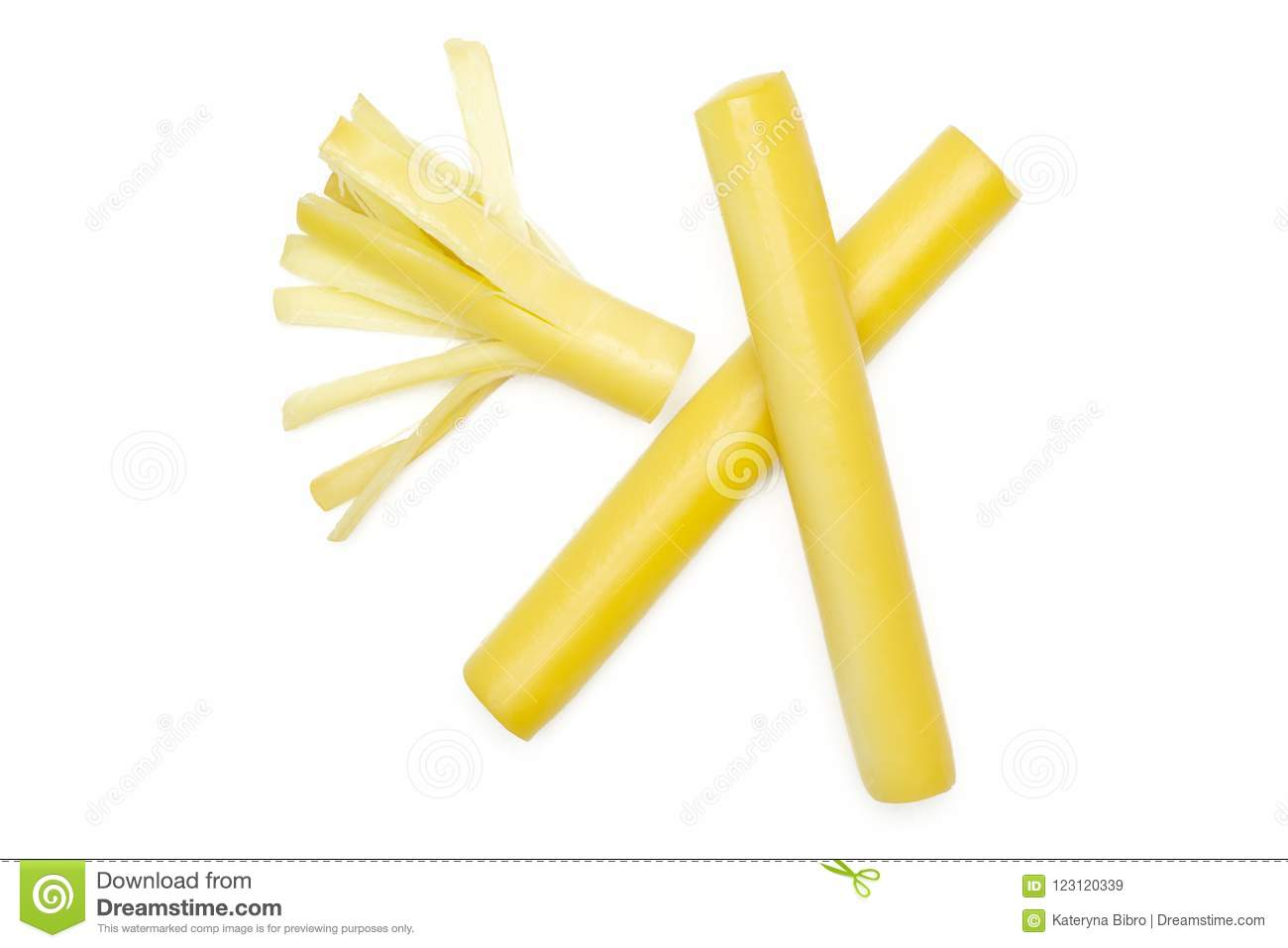 Smoked slovak string cheese stick isolated on white