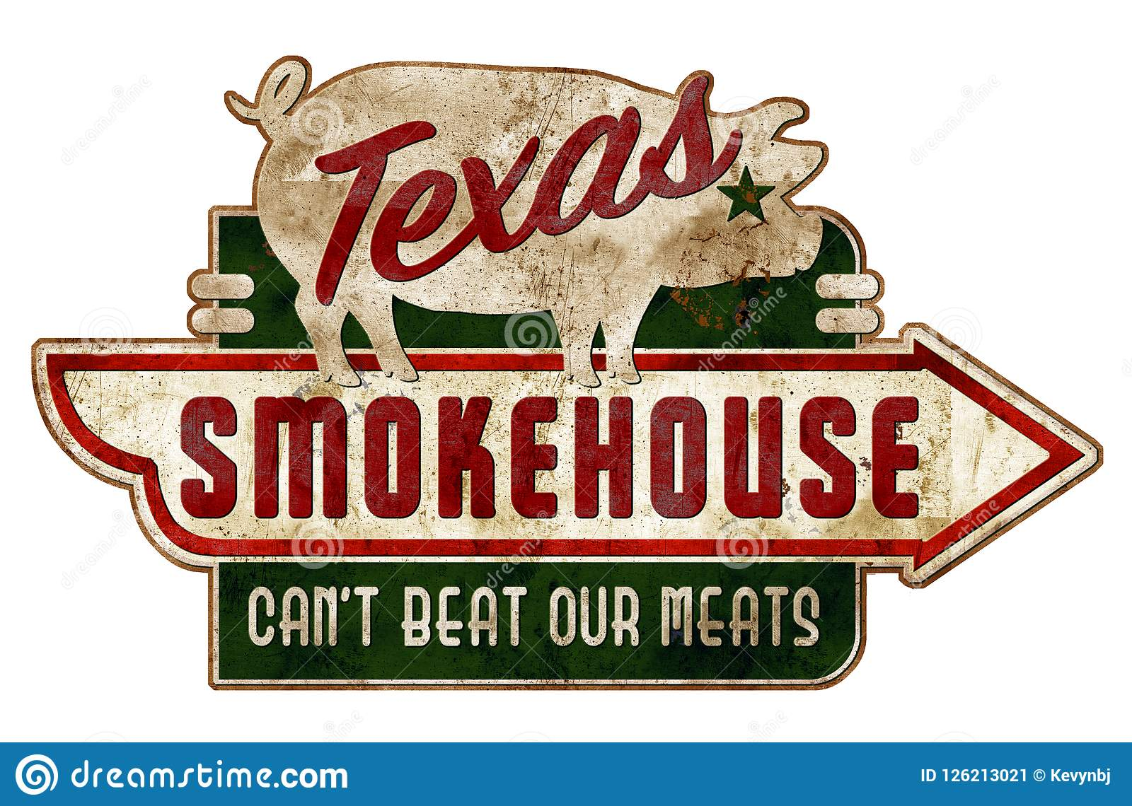 Smokehouse Sign Texas Vintage Grunge Ribs Real