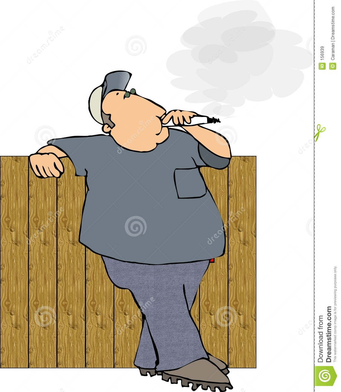 Smoker leaning on a fence