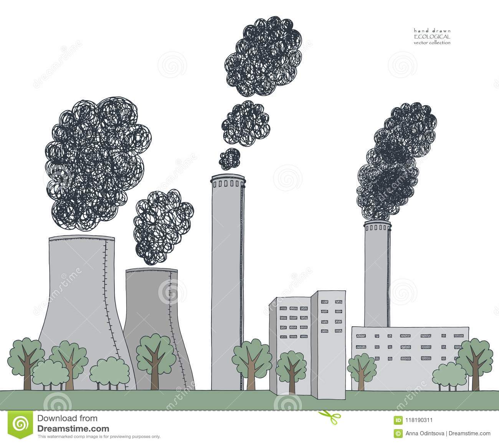 Smokestack on white background illustration of air