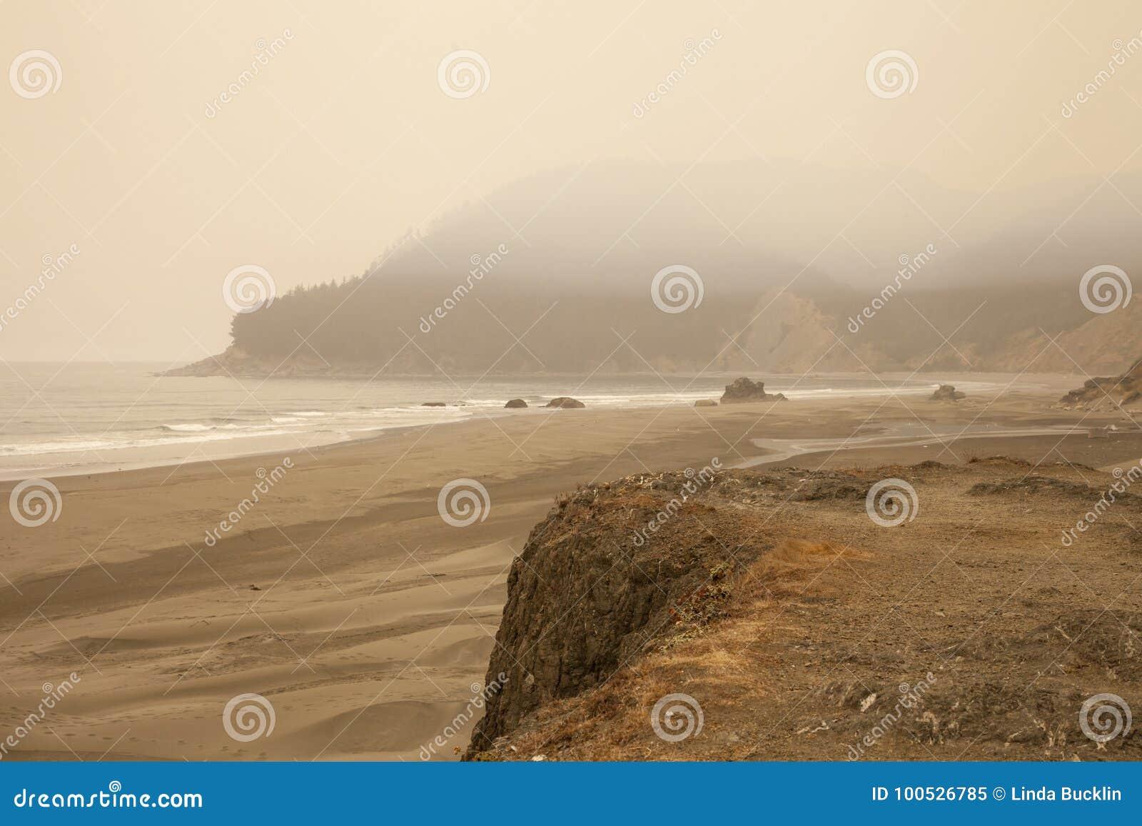 Smokey Beach From Oregon Wildfires