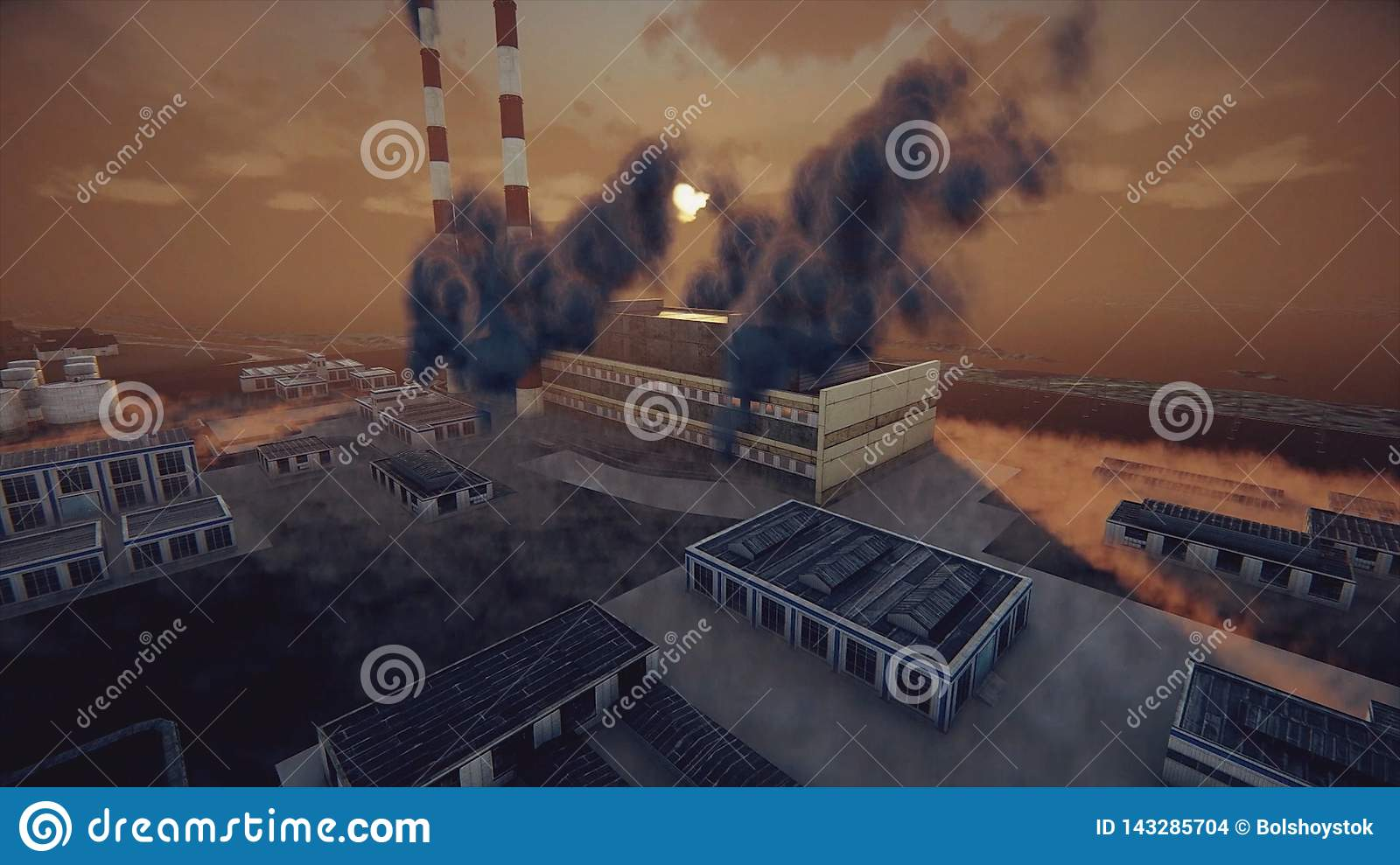 The smoking chimneys of the plant and abstract factory in thick smog, ecological problems and air pollution concept