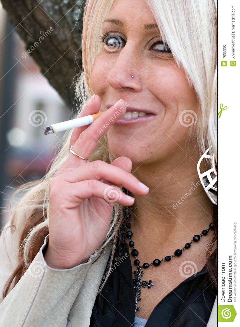Mature blonde smoker