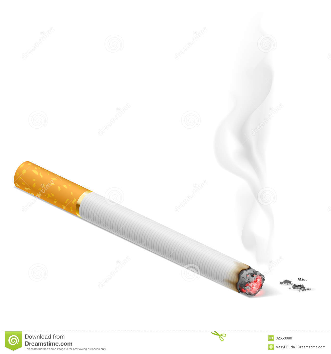 Smoking cigarette. Ill...