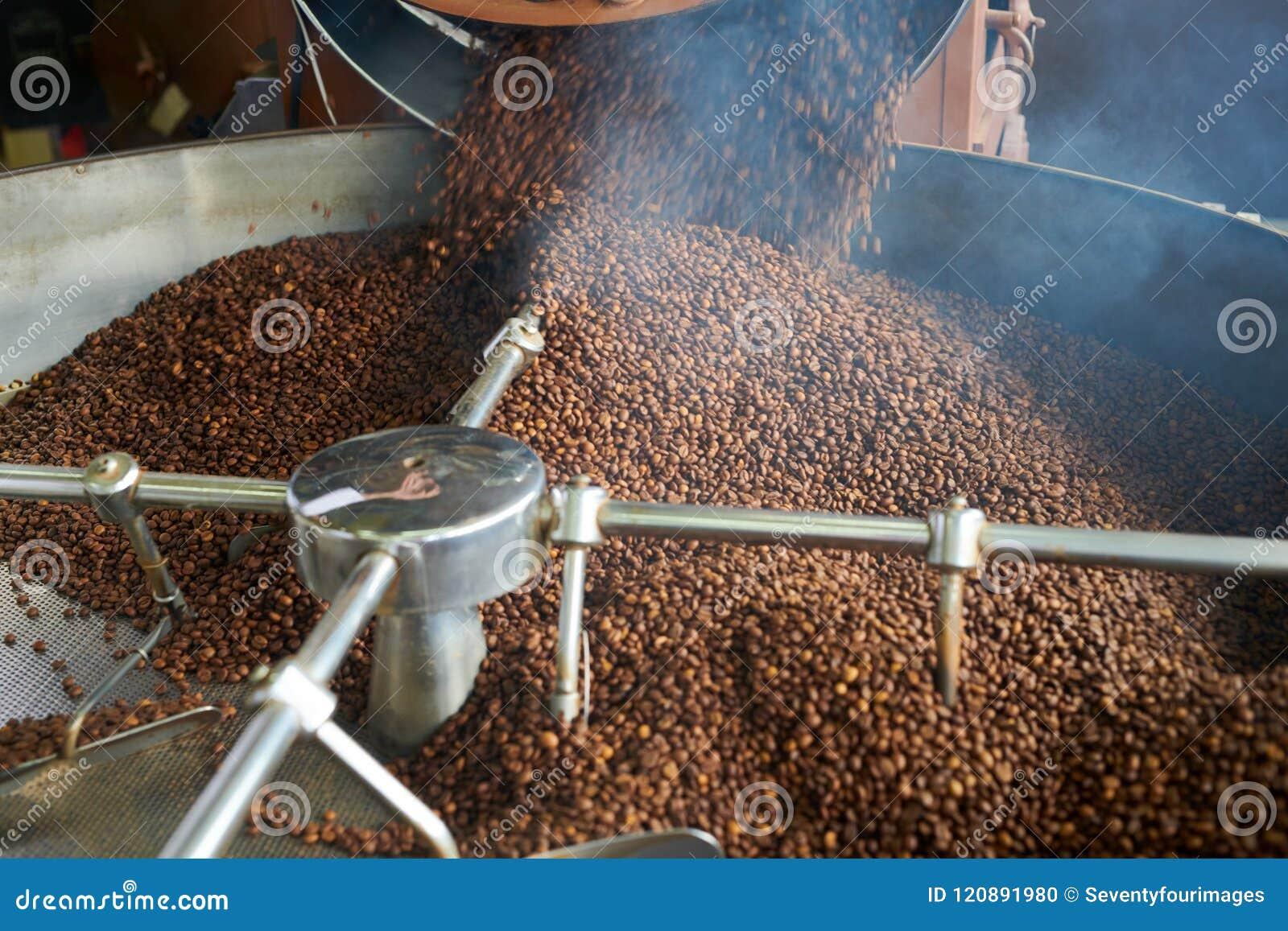 Smoking Coffee Beans Roasting In Machine Stock Photo - Image