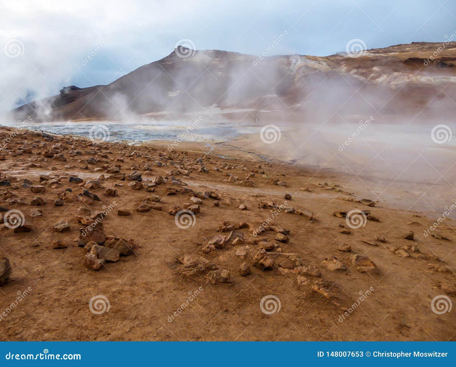 Iceland - Smoking hot pots at the geothermal activie region of Hverir
