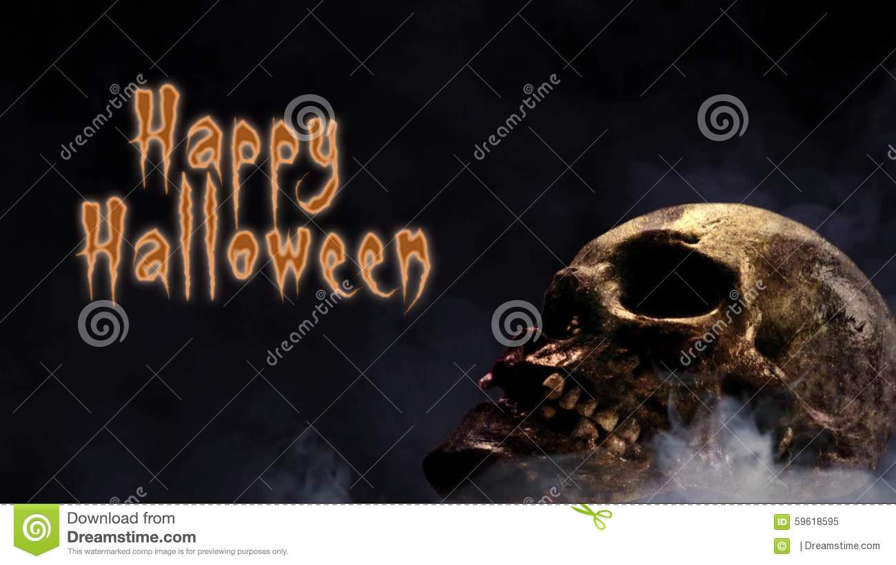 Smoking Skull Happy Halloween Stock Video   Video Of Graphics, Bats:  59618595