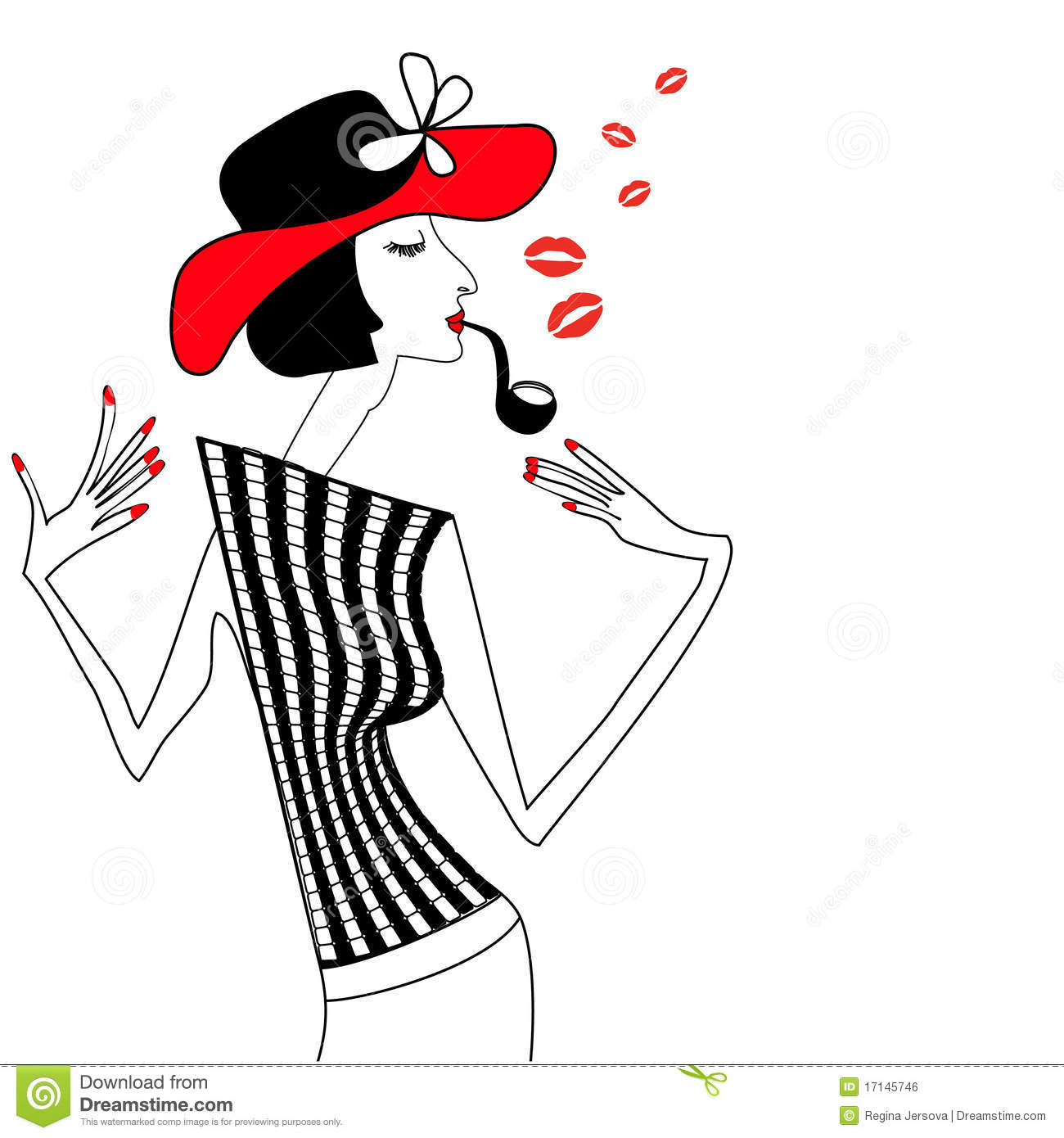 Template Greeting Card Royalty Free Stock Image: Smoking Woman Royalty Free Stock Image