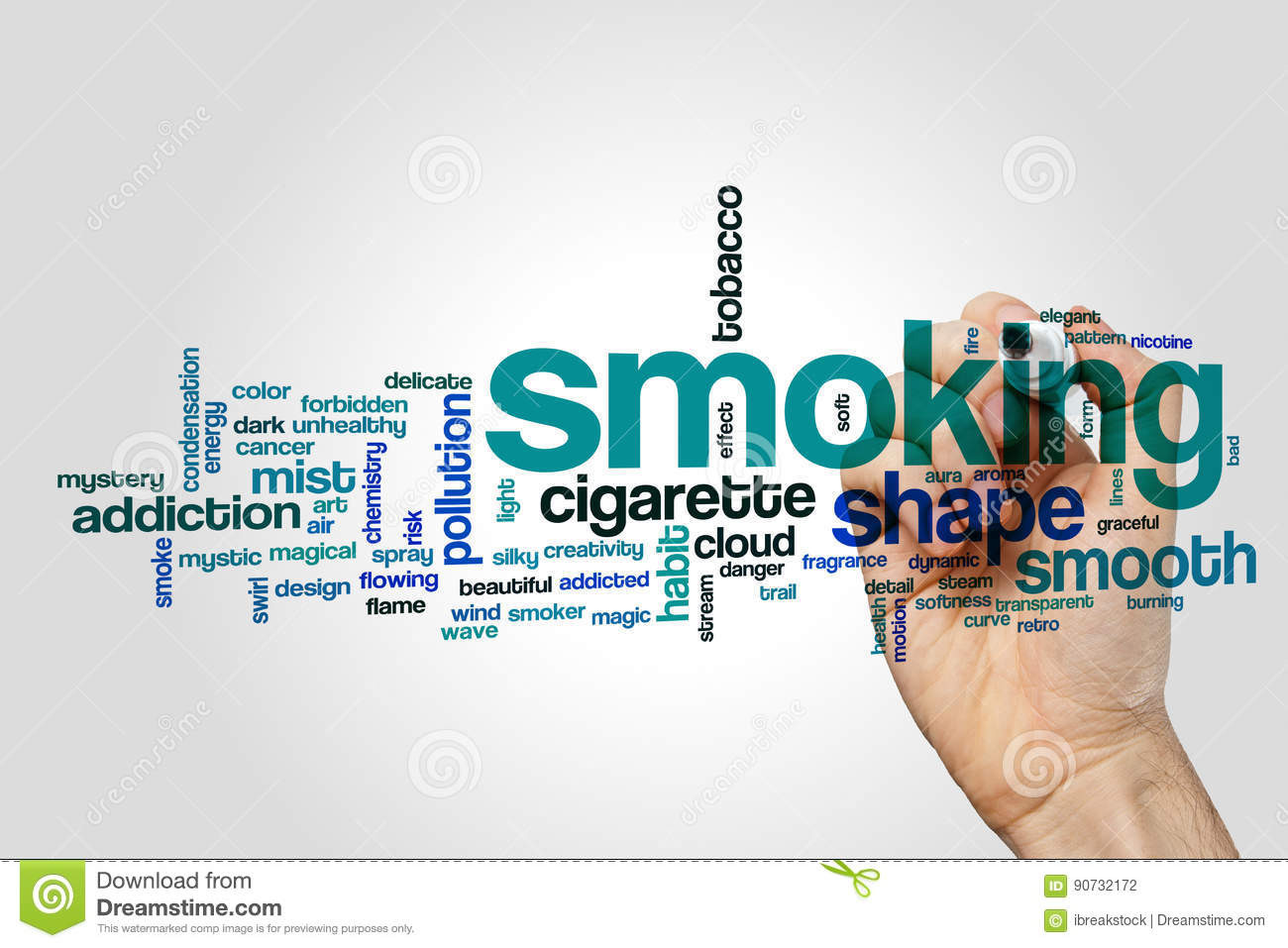 Smoking word cloud stock photo image of soft steam 90732172 download comp ccuart Image collections
