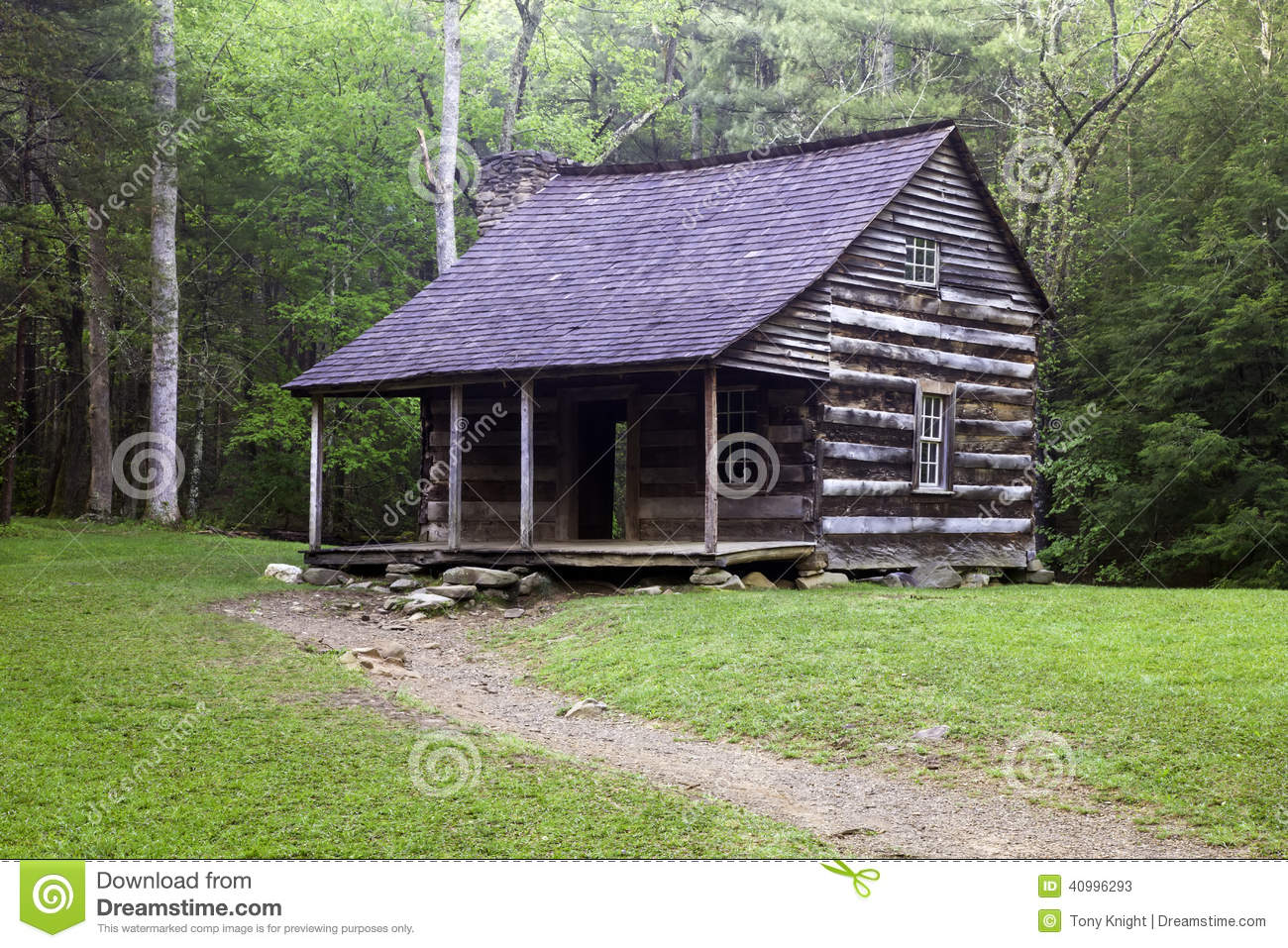 Smoky Mountain Cabin Stock Photo Image 40996293