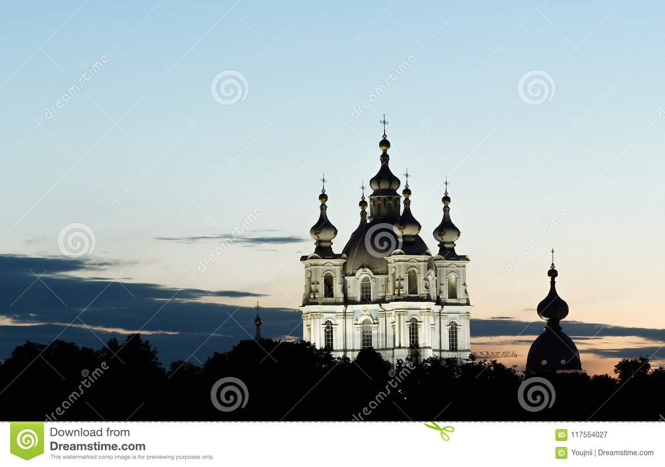 Smolny Cathedral in White Nights