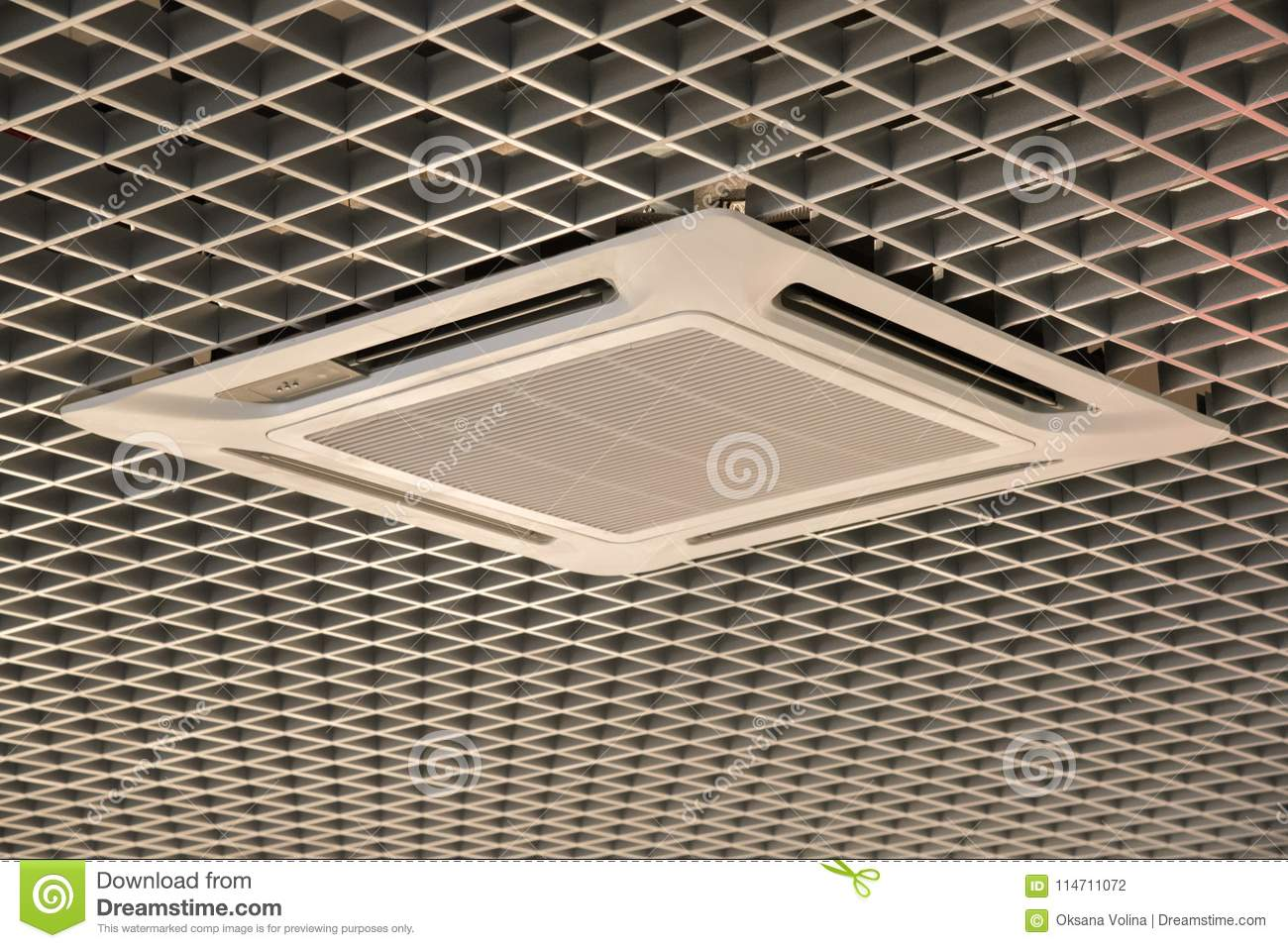 Smooth beautiful trellised ceiling with air conditioning indoors