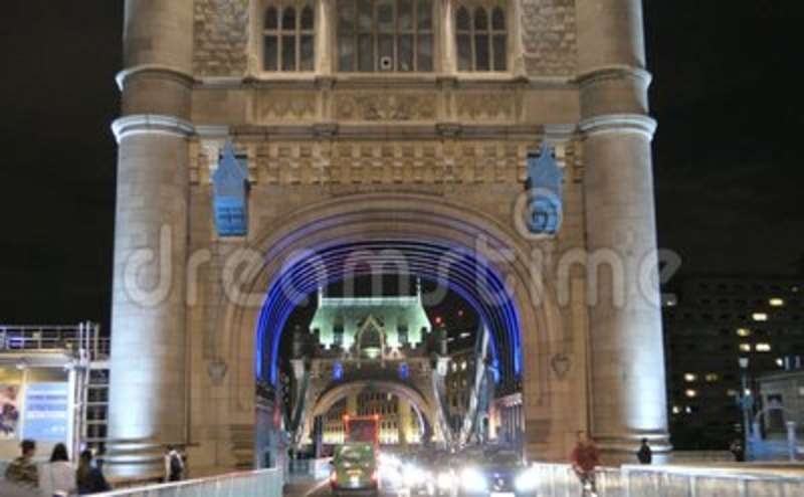 Smooth Driving Shot Through Night Traffic On Tower Bridge Iconic
