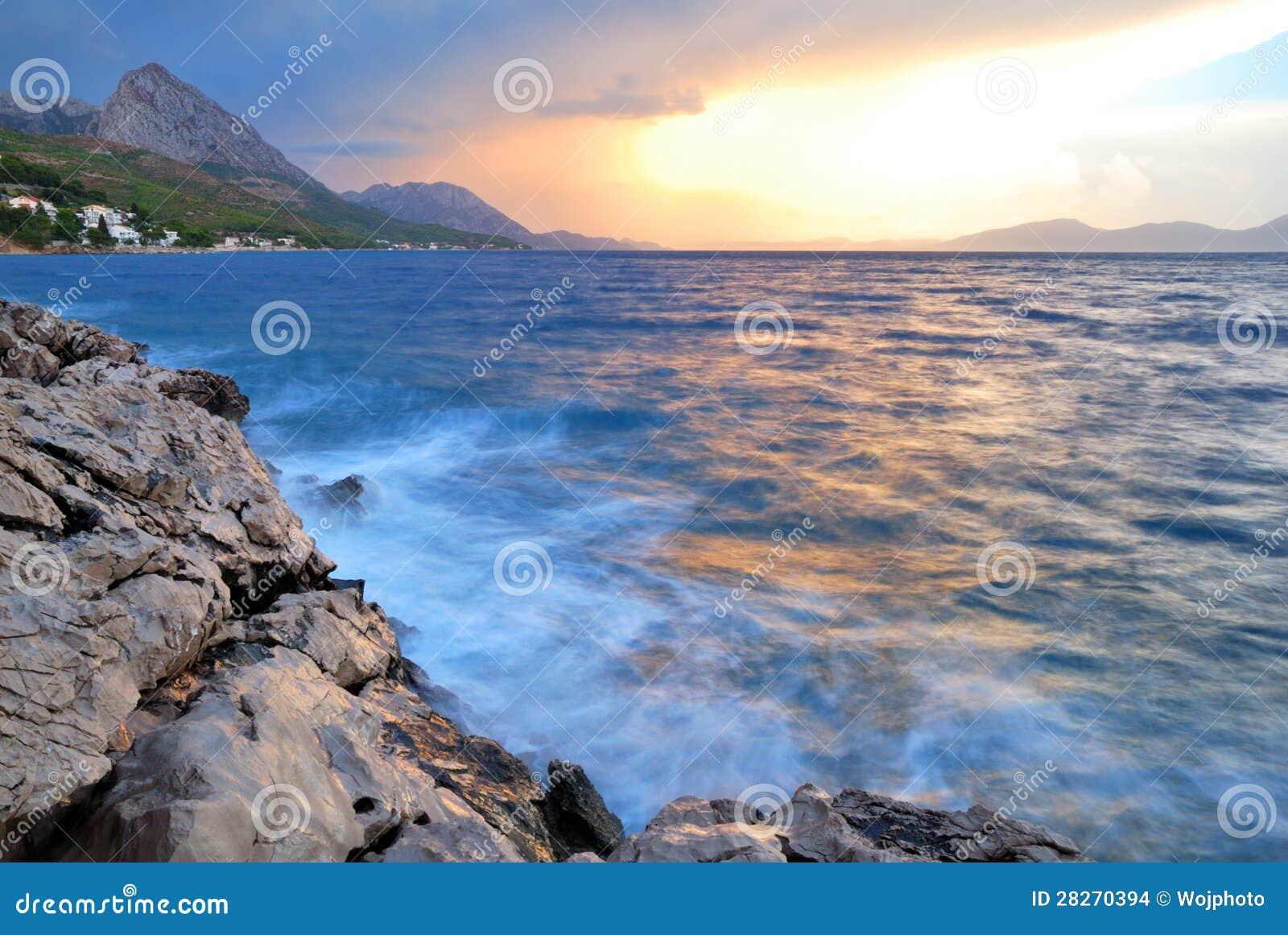 Smooth Evening Sea And Sky Stock Photo. Image Of Croatia
