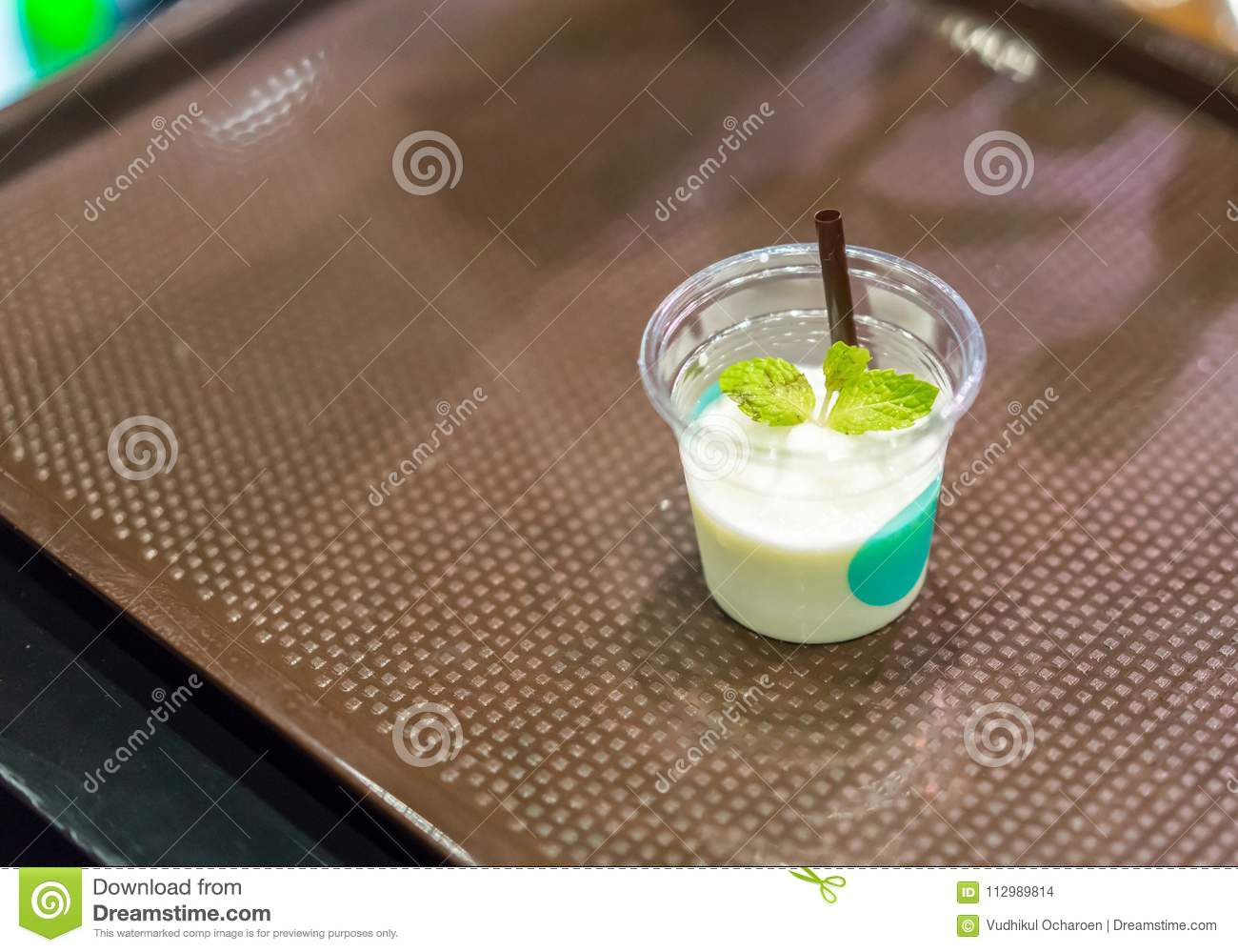 Smoothie beverage sample for refreshing concept in transparent t