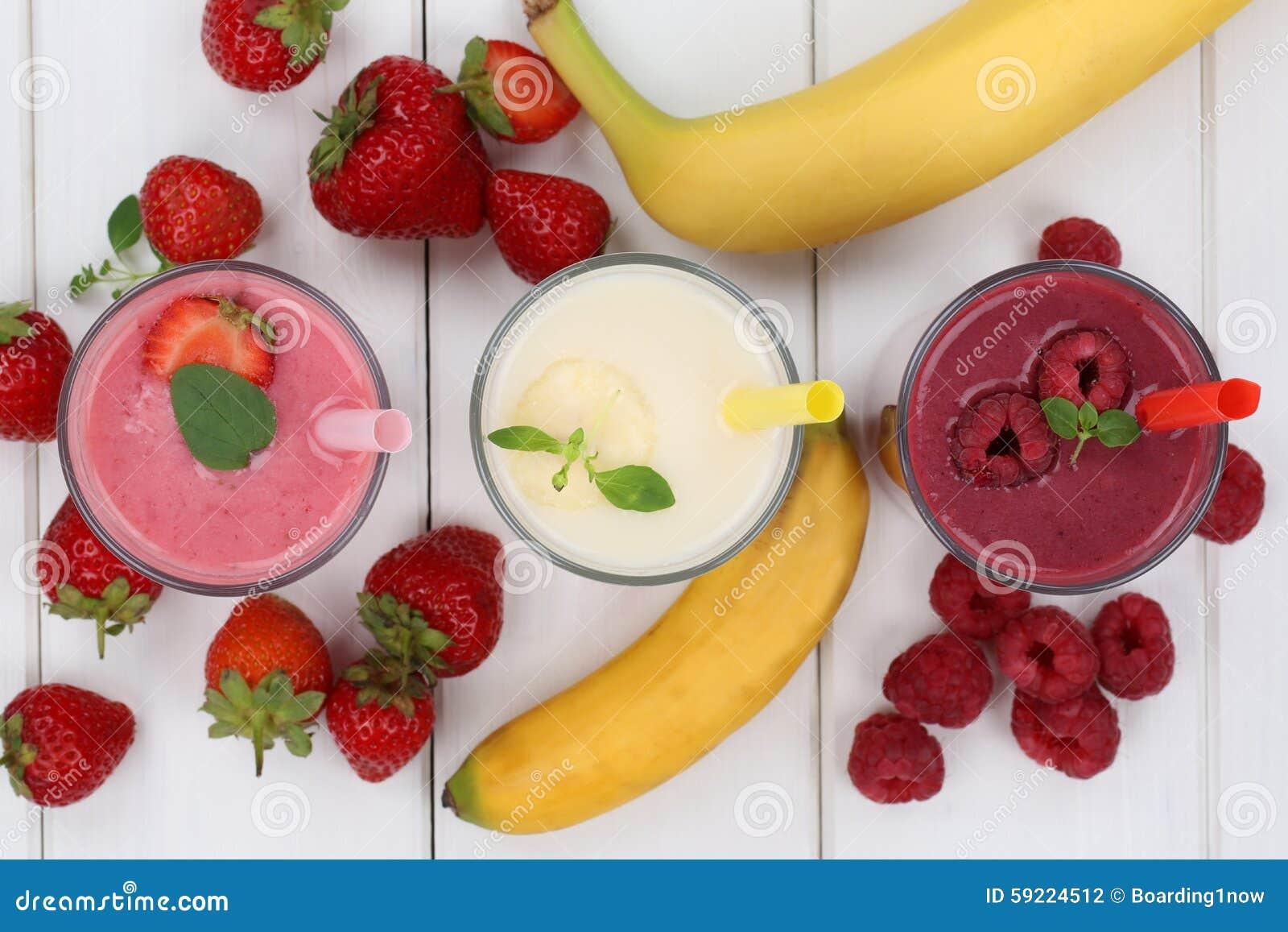 Smoothie fruit juice with fruits like strawberries, raspberries