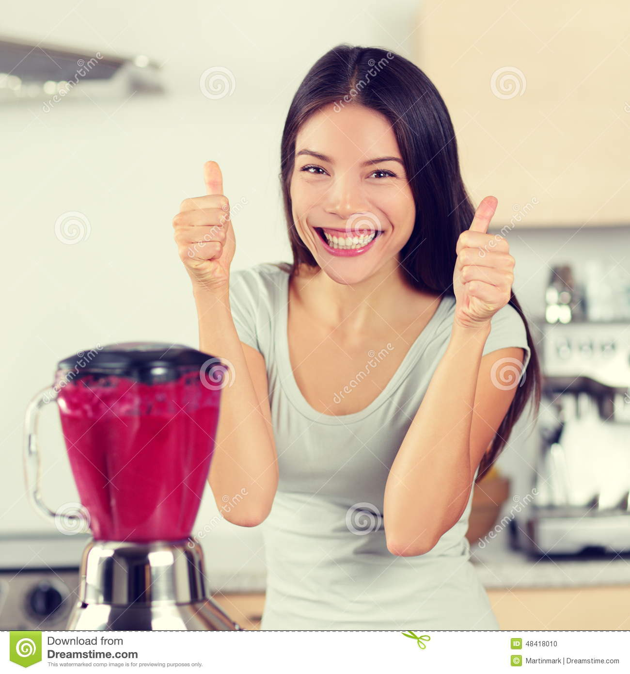 Smoothie Woman Making Fruit Smoothies Thumbs Up Stock ...