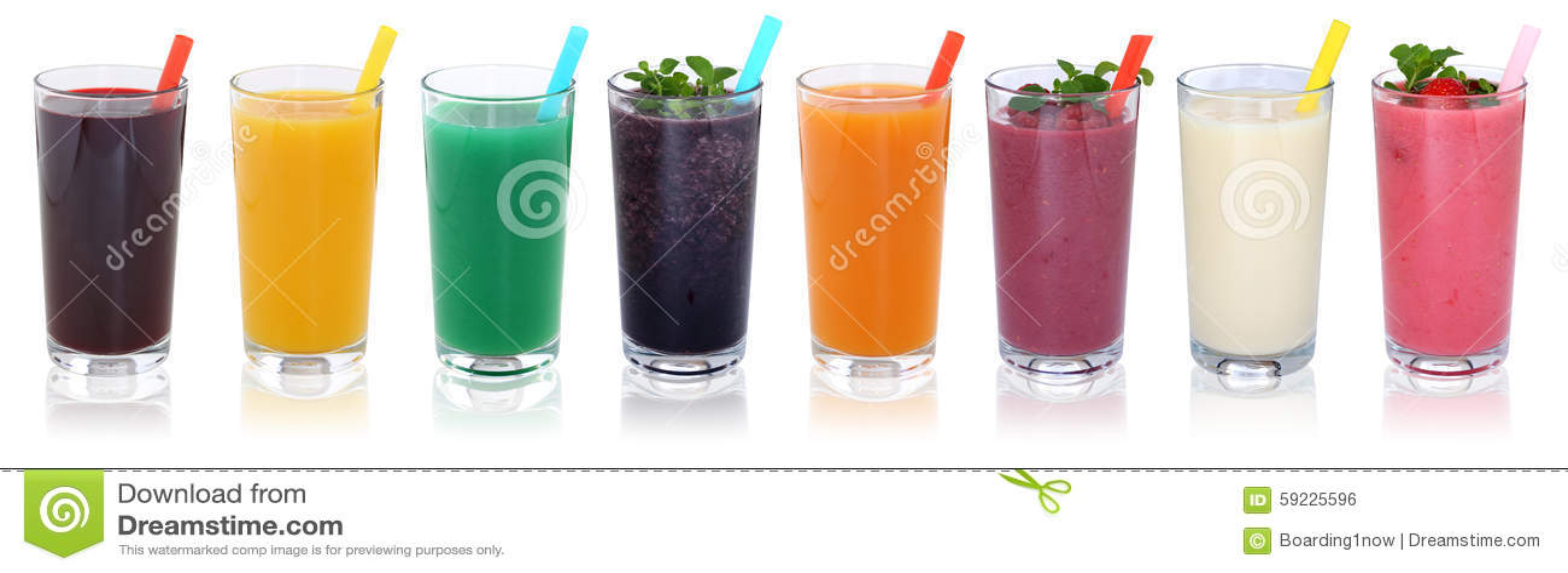 Smoothies för Smoothiefruktfruktsaft dricker med isola för frukter i rad