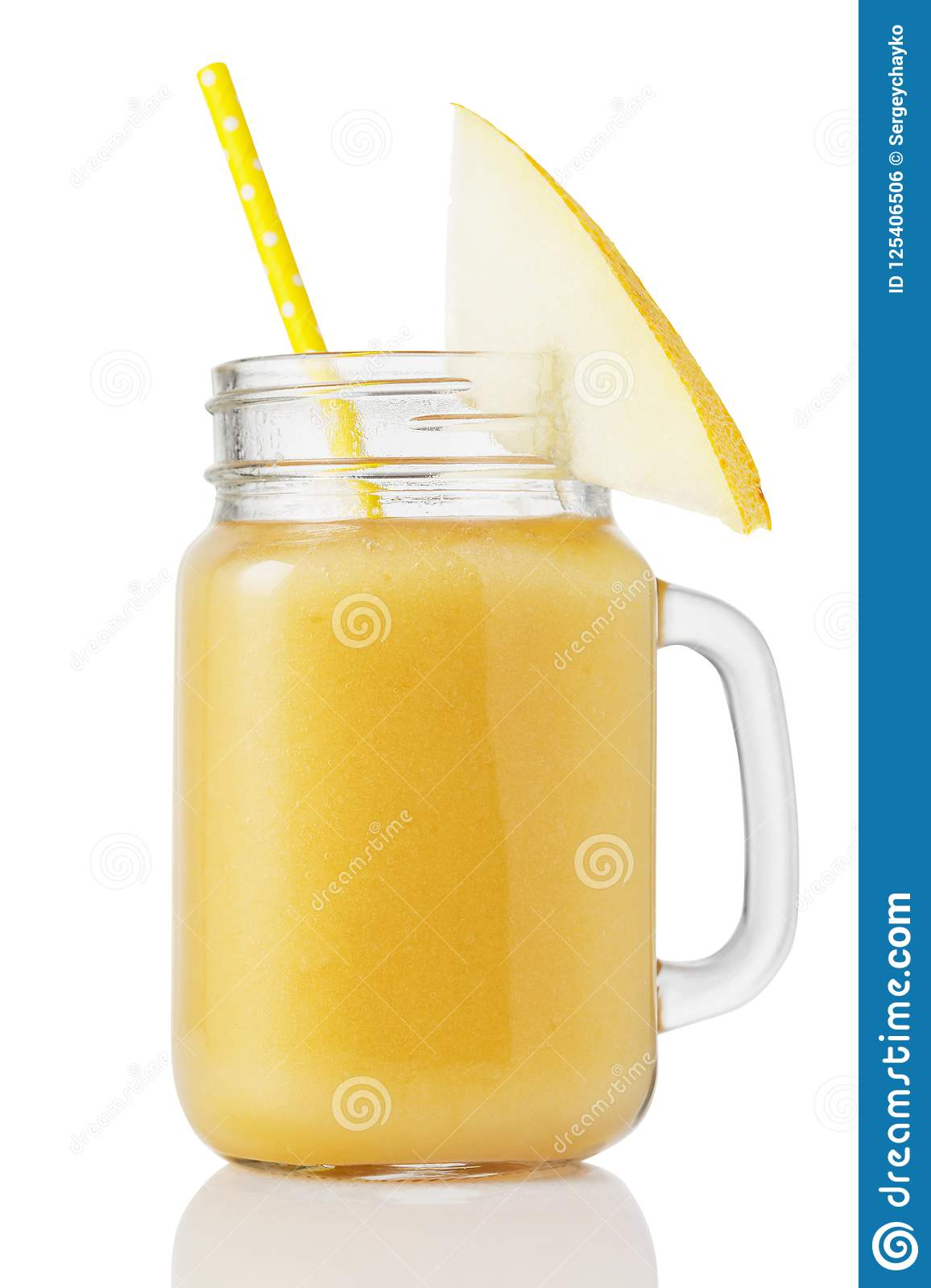 Smoothies in a glass jar, made from pieces of melon, isolated