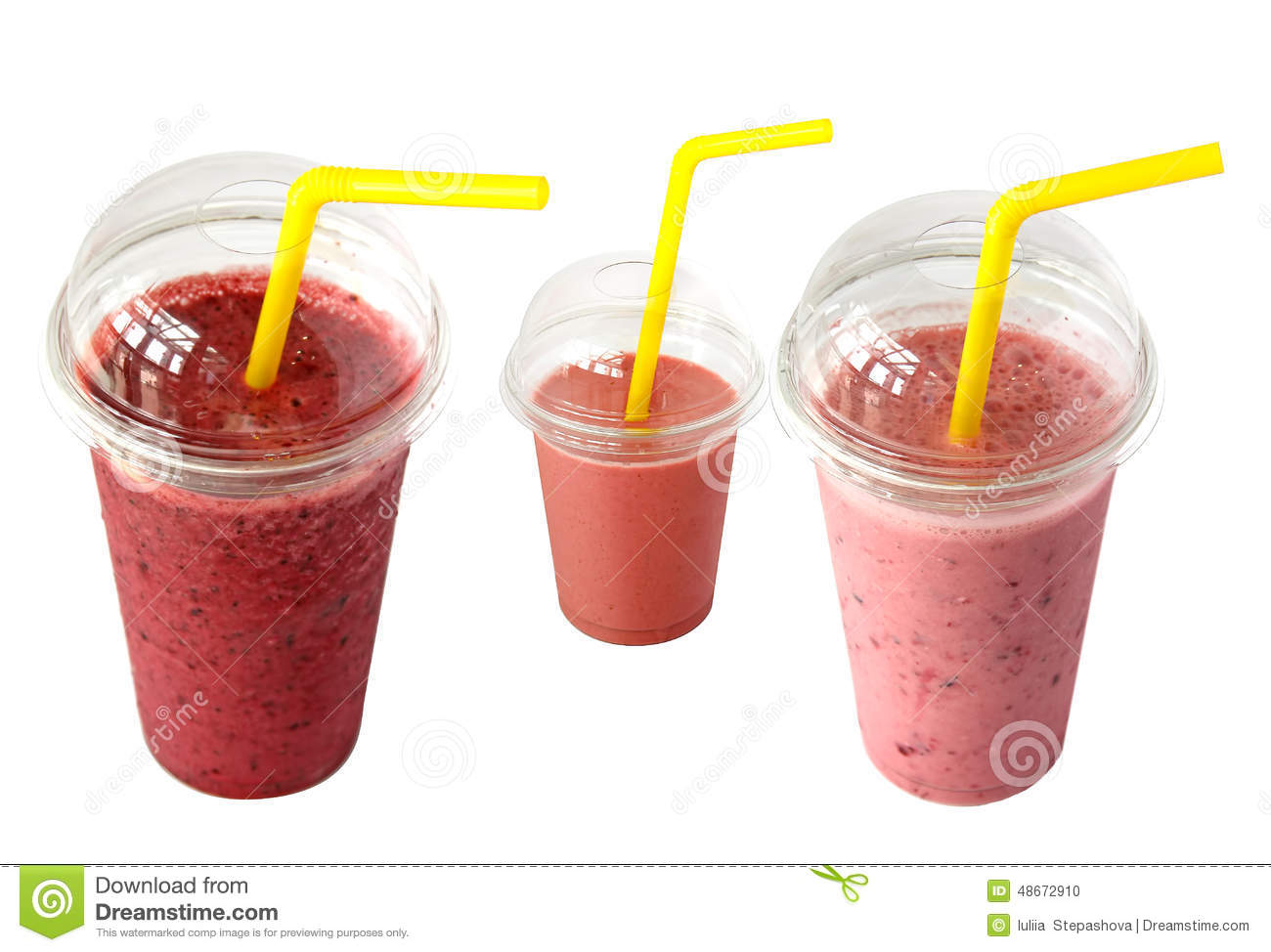 smoothies in plastic cup stock photo image 48672910
