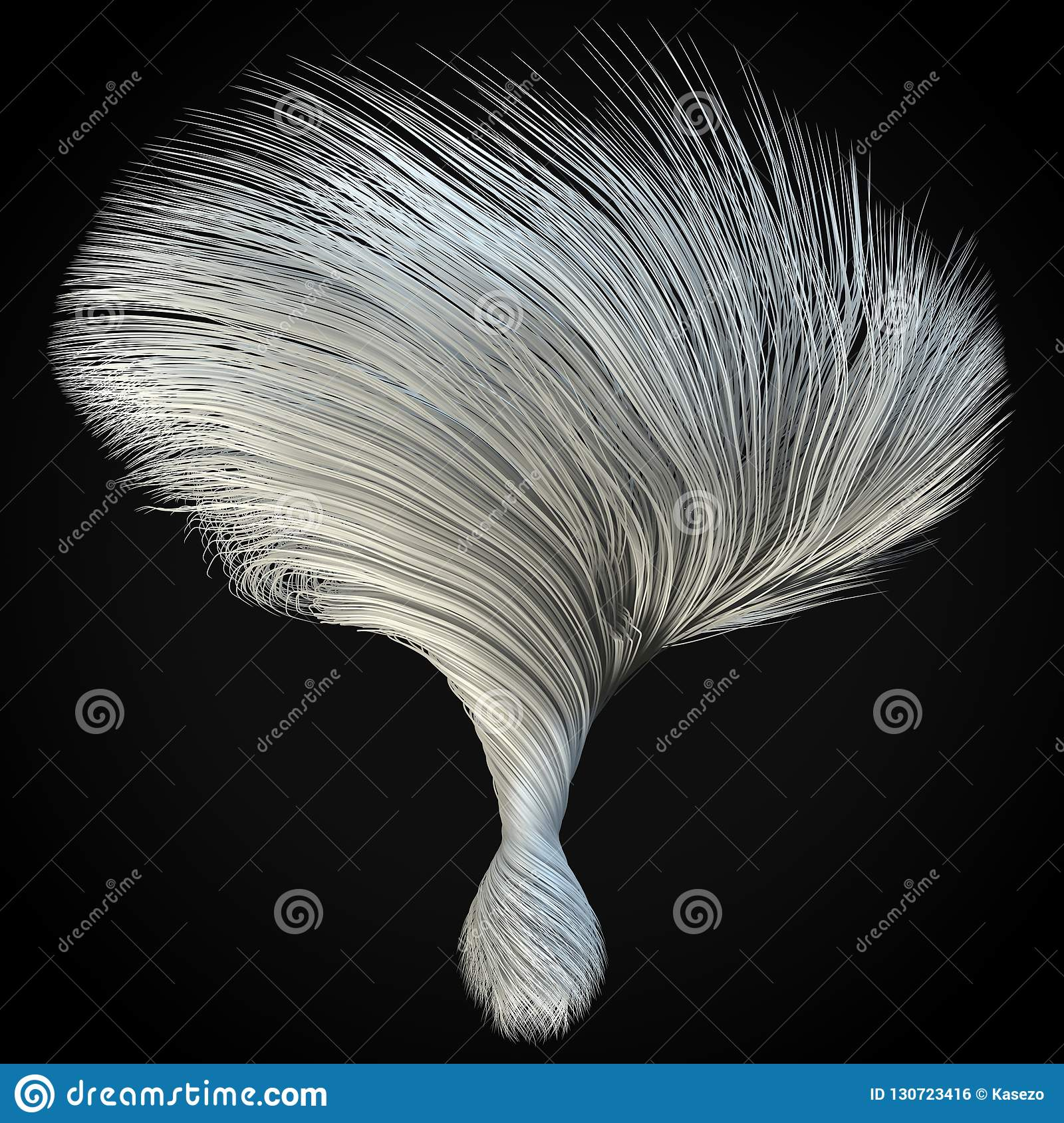 smoothly moving white hair lines 3d illustration stock illustration