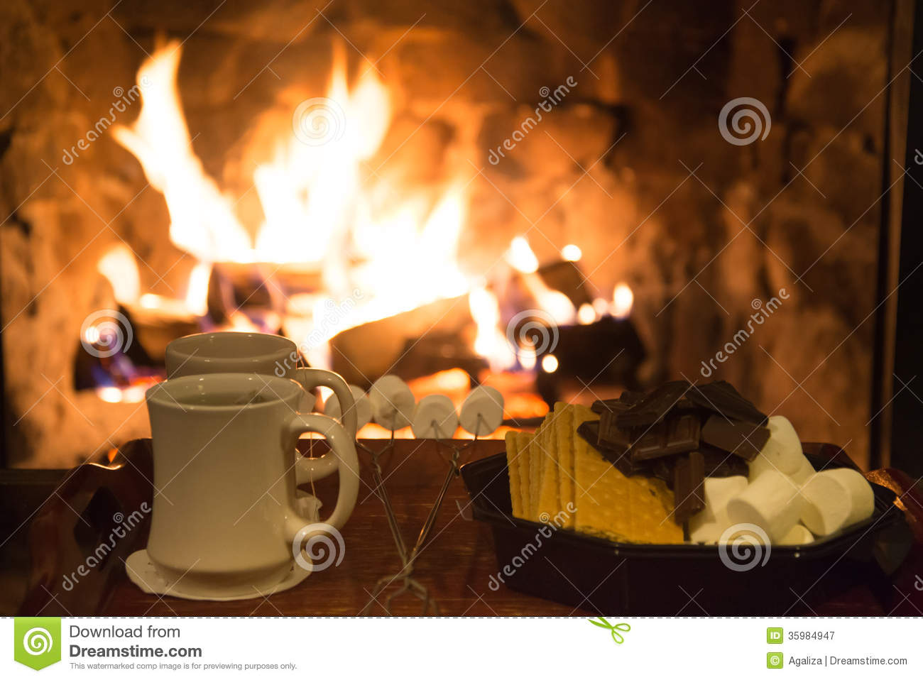 Smores Treats In Front Of A Fireplace Stock Image Image