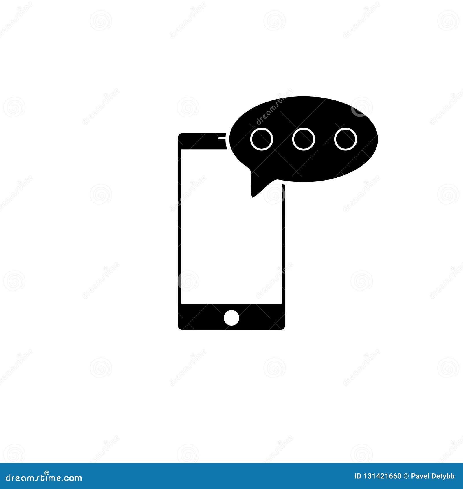 SMS-bericht in smartphonepictogram SMS-berichtpictogram in vlakke die stijl op witte achtergrond wordt geïsoleerd Smssymbool in t