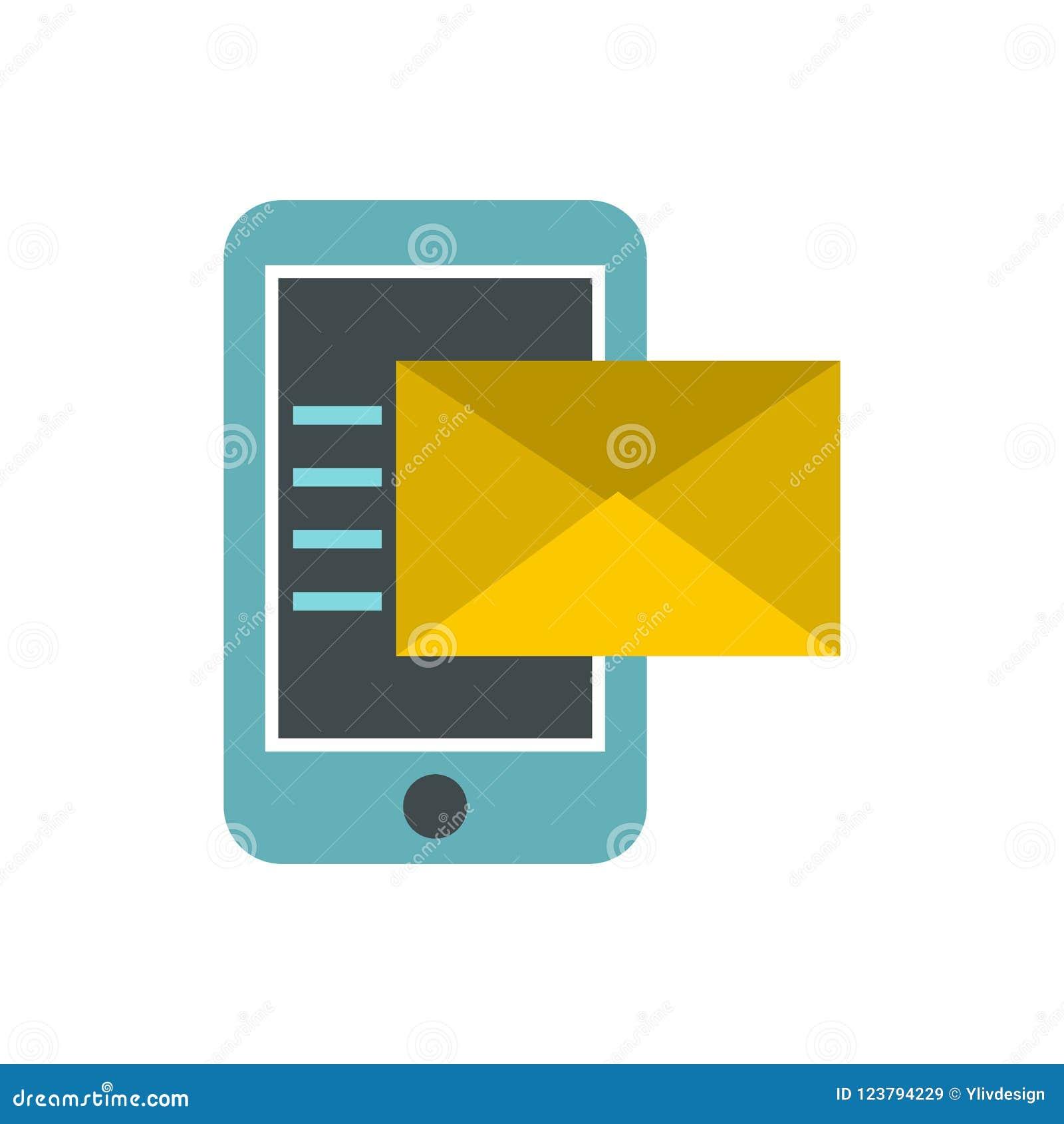SMS op het telefoonpictogram, vlakke stijl