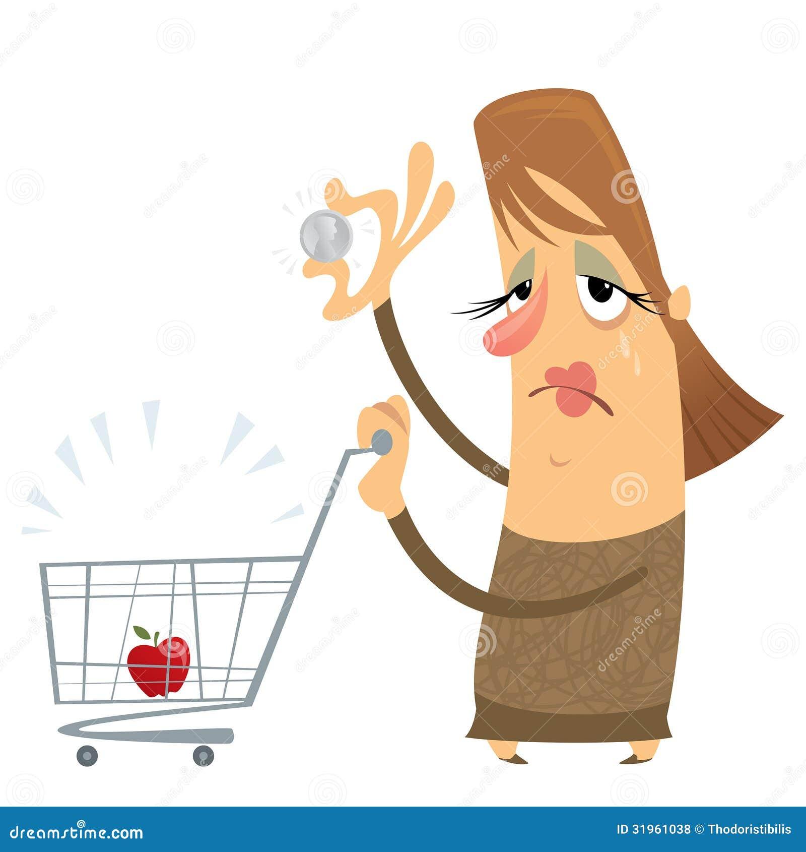 Smutna biedna kobieta trzyma tylko jeden bez pieniądze z pustą furą