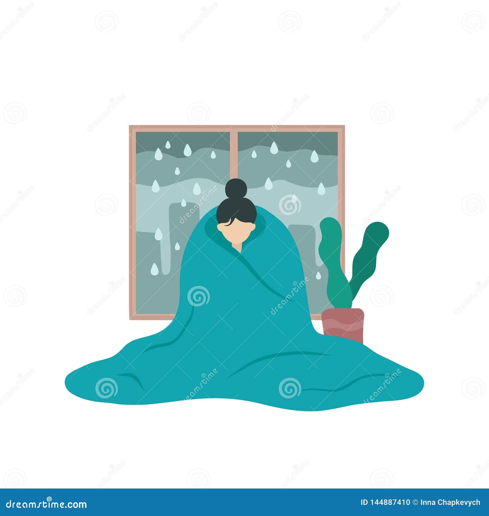 Smutna chora kobieta w depresji zakrywaj?cej z koc