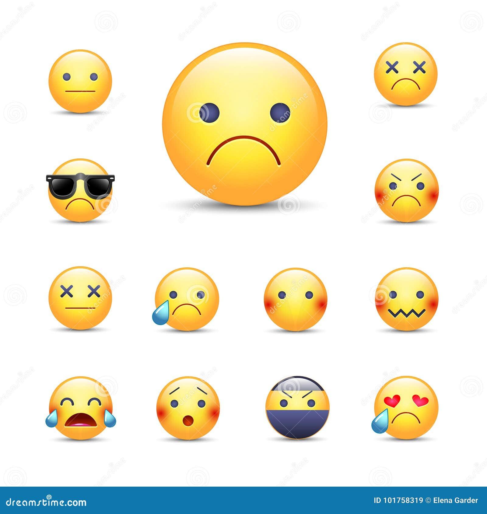 Smutnej, zmartwionej kreskówki emoji twarzy wektorowy set,