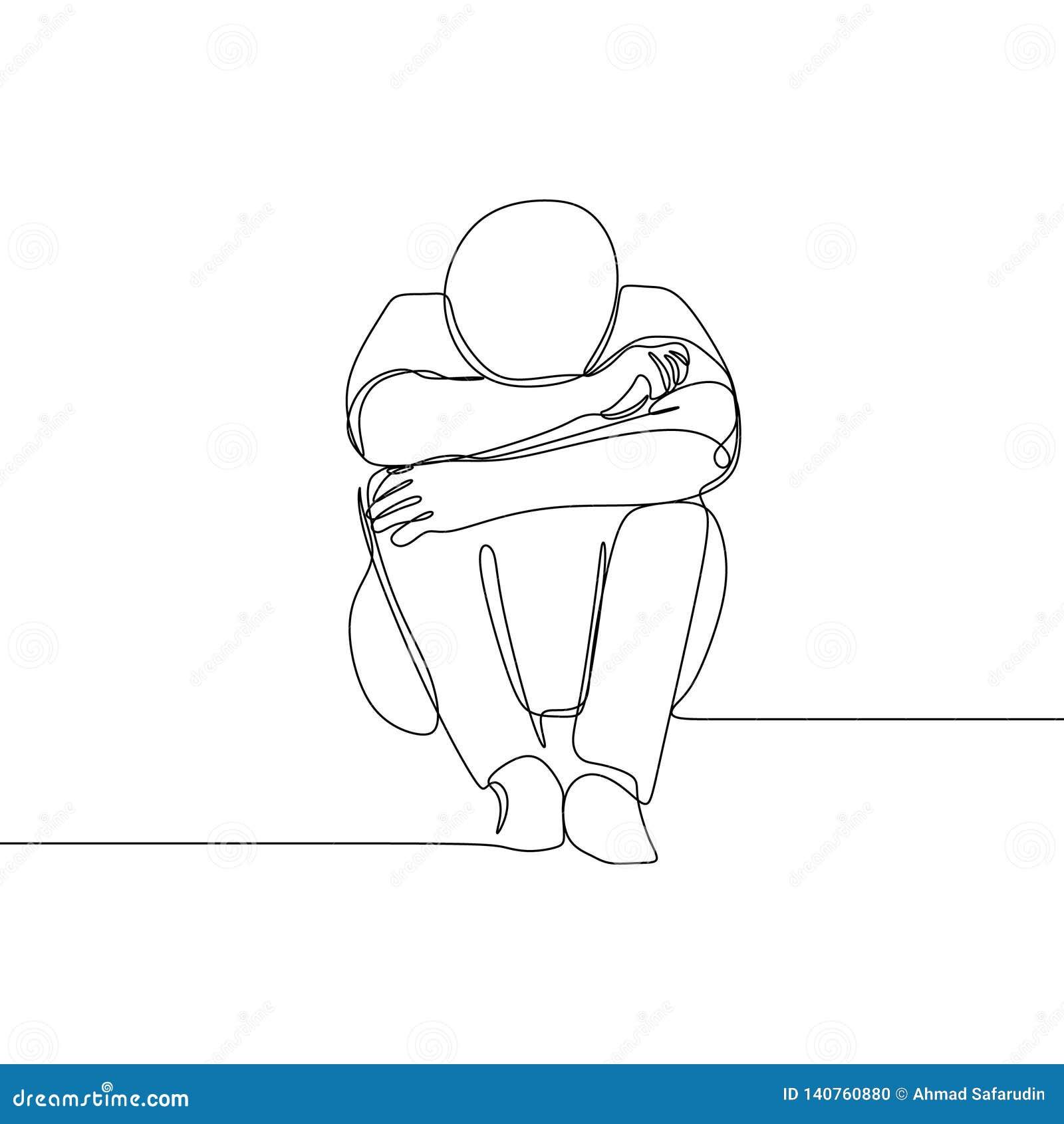 Smutny mężczyzny jeden kreskowego rysunku wektorowy ilustracyjny minimalistyczny projekt