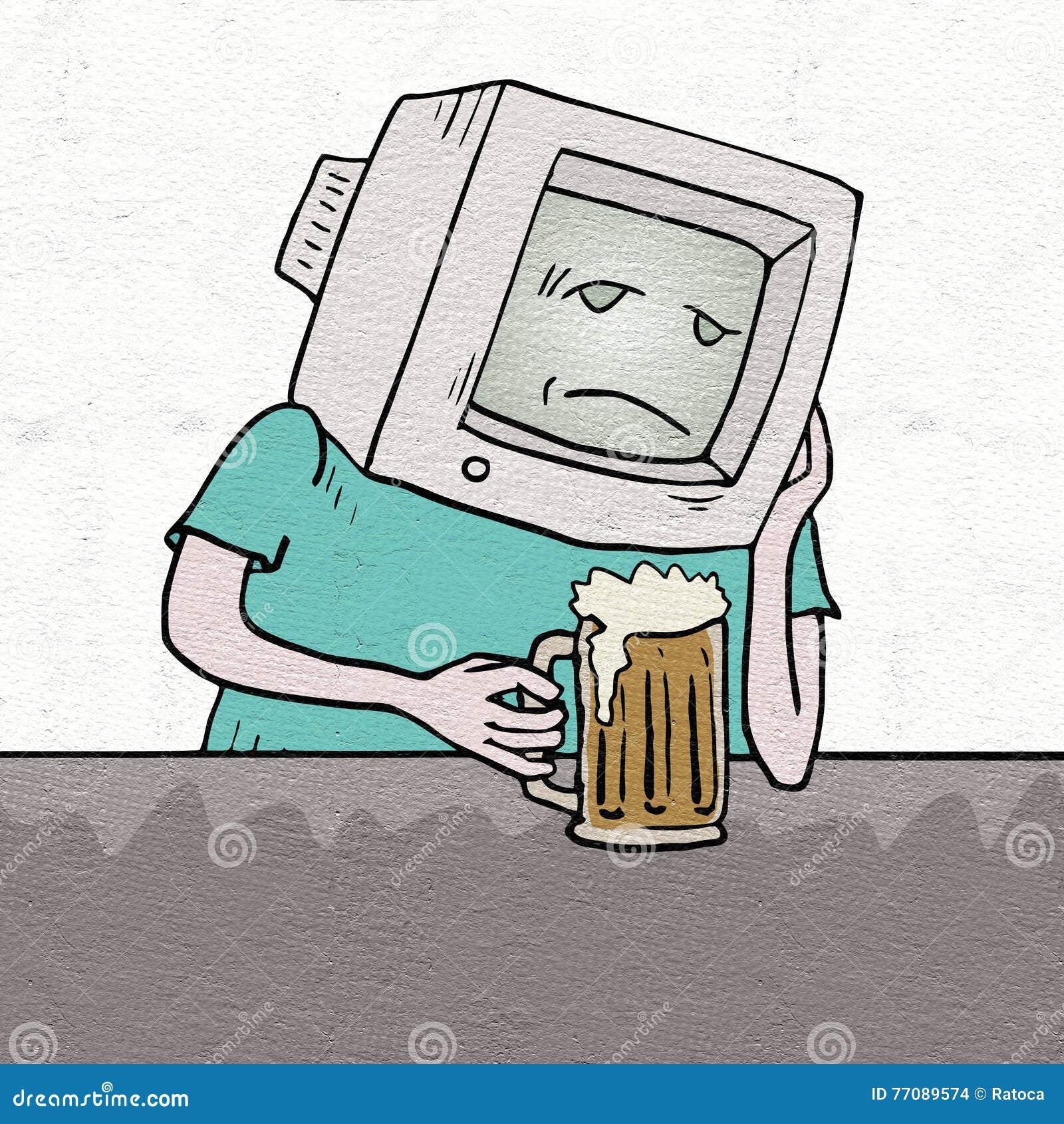 Smutny retro komputerowy pijący