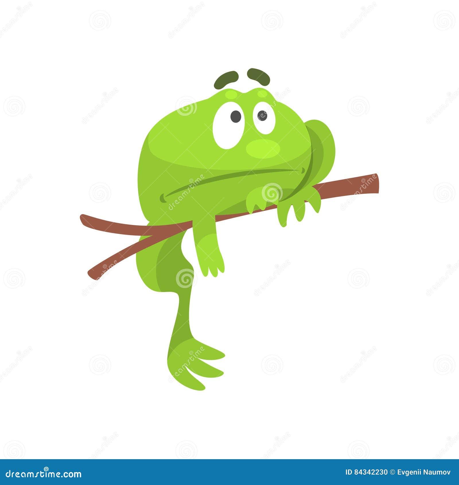 Smutny Zielonej żaby charakteru Śmieszny obwieszenie Od Gałęziastej Dziecięcej kreskówki ilustraci