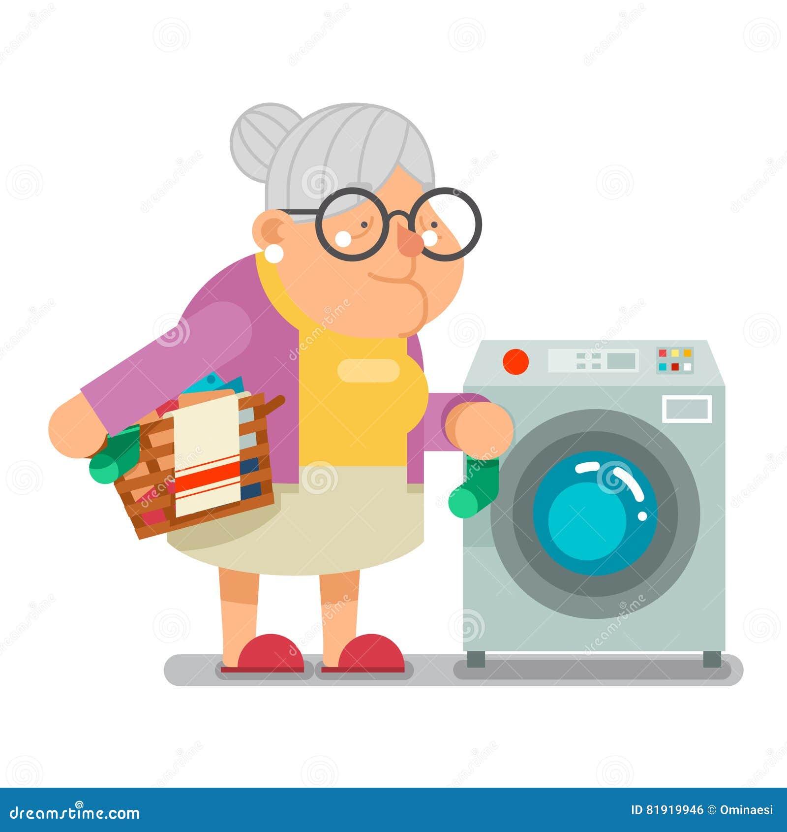 Smutsig tvätteri för Wash i illustration för vektor för design för gammal dam Character Cartoon Flat för farmor för hushåll för t