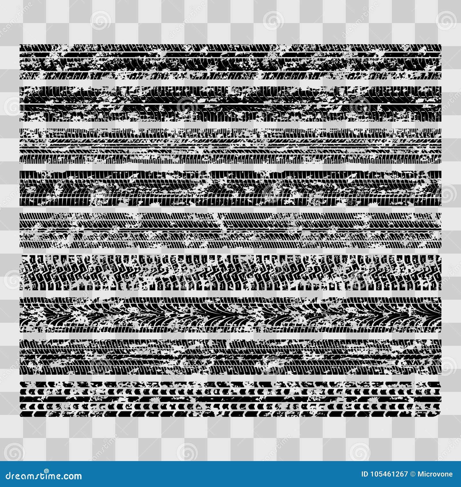 Smutsiga grungegummihjulspår, fläckar för gyttjacykeldäckmönster som isoleras på genomskinlig bakgrund