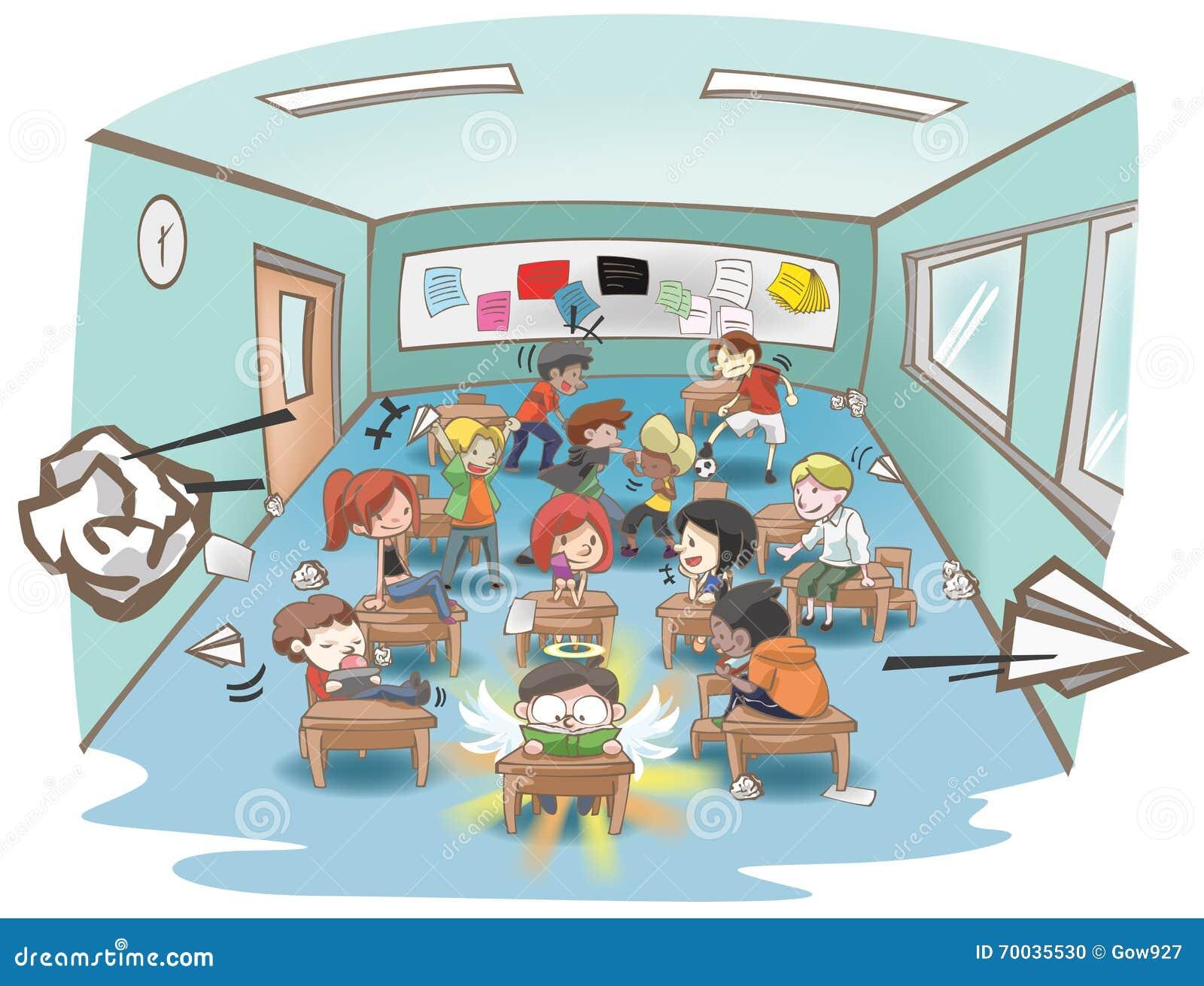 Smutsigt skolaklassrum för tecknad film mycket av den stygga ungestudenten