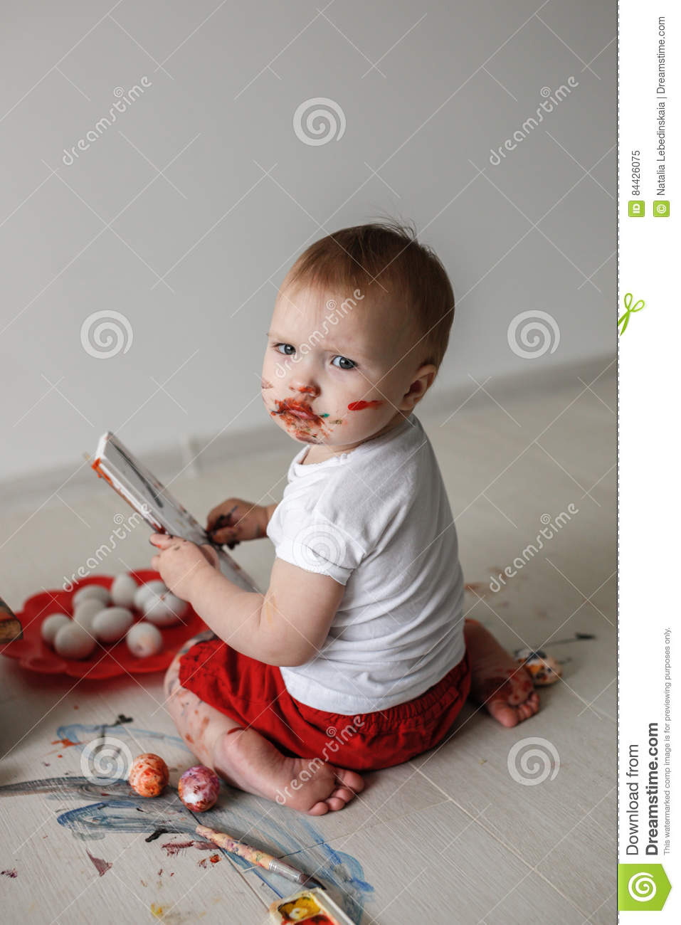 Download Smutty Kid With Watercolor Paints Stock Image Image Of Attractive Look 84426075