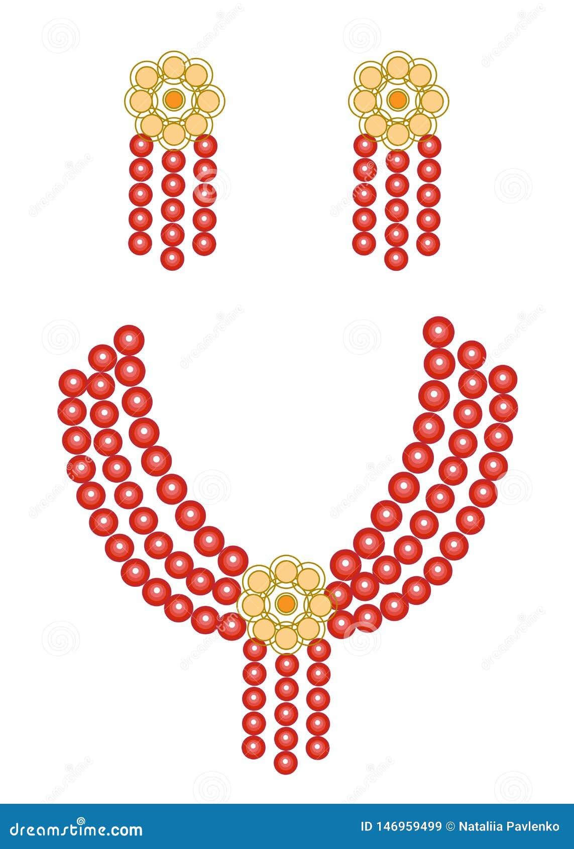 Smycken f?r kvinna` s Ljusa röda härliga pärlor och örhängen ocks? vektor f?r coreldrawillustration