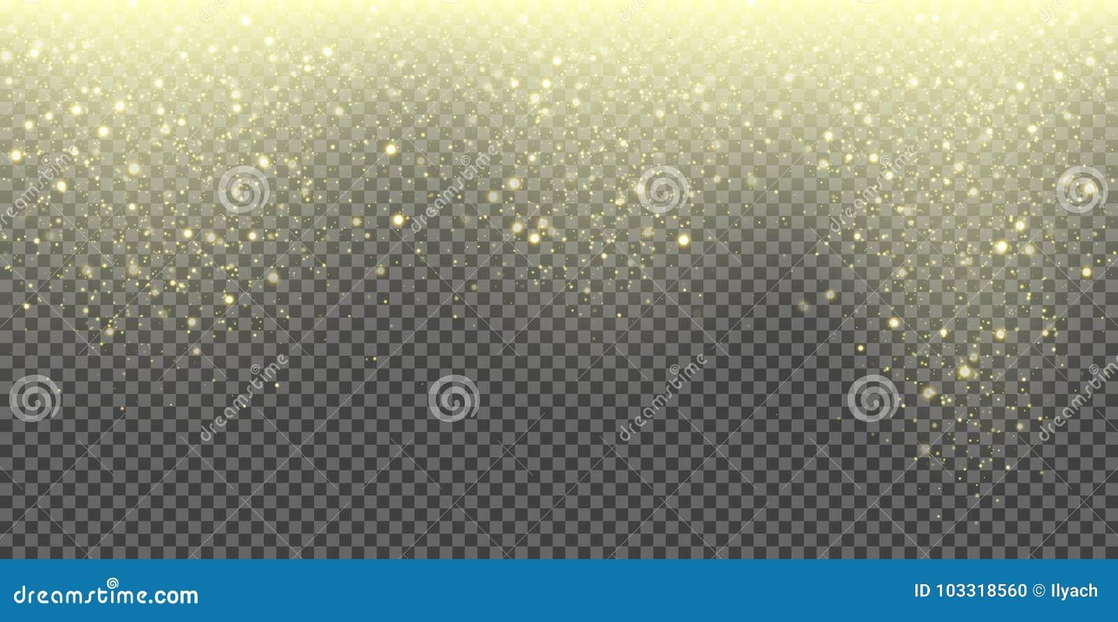 Snöa fallande vektorbakgrund av guld- mousserande snöfall- och blänkasnöflingor Abstrakt blänker glöda för vektor guld-