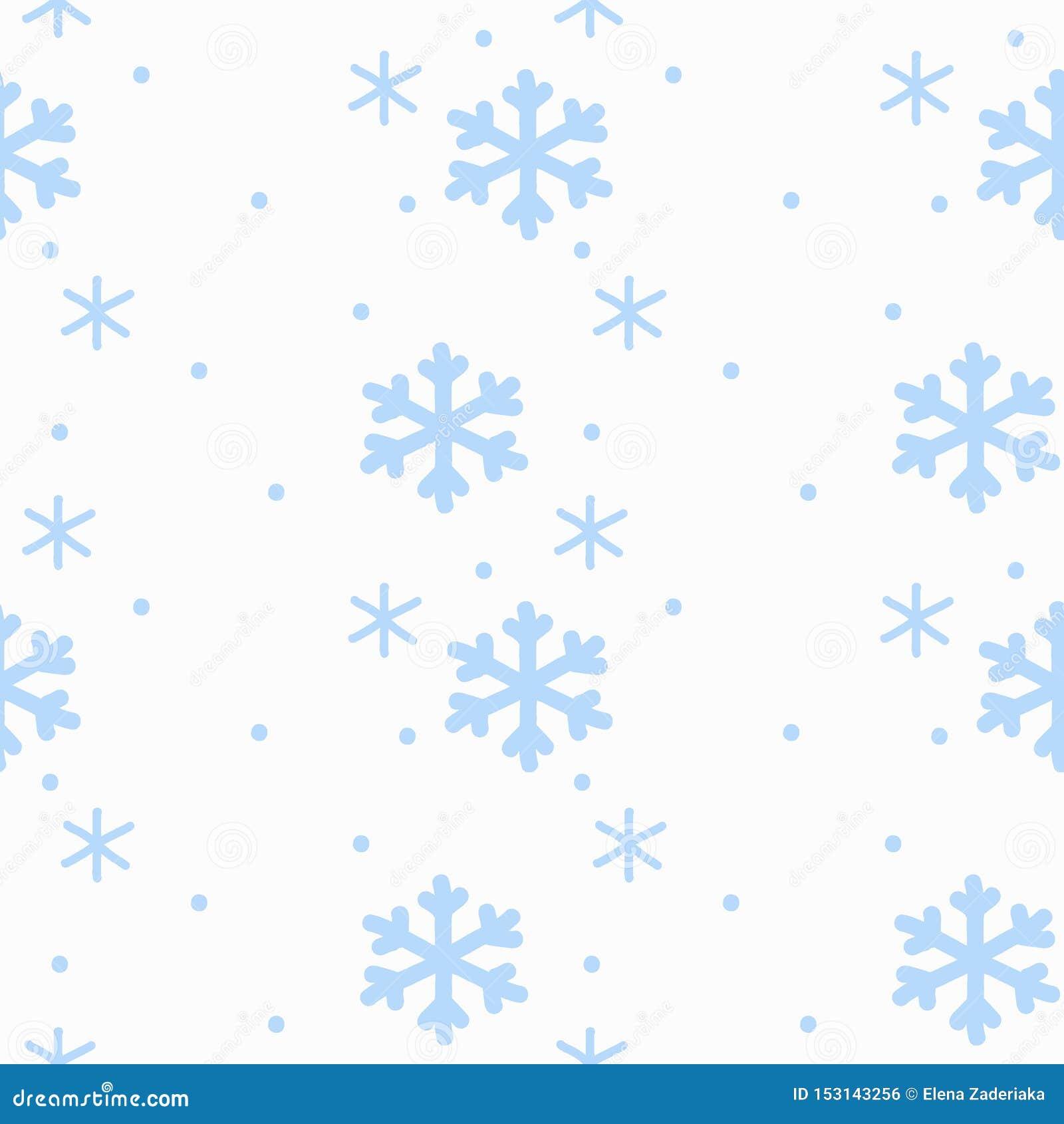 Snöflingor för handteckningstecknet som var blåa på sömlös modell för vit bakgrund, isolerade vinter f?r bl?a snowflakes f?r bakg